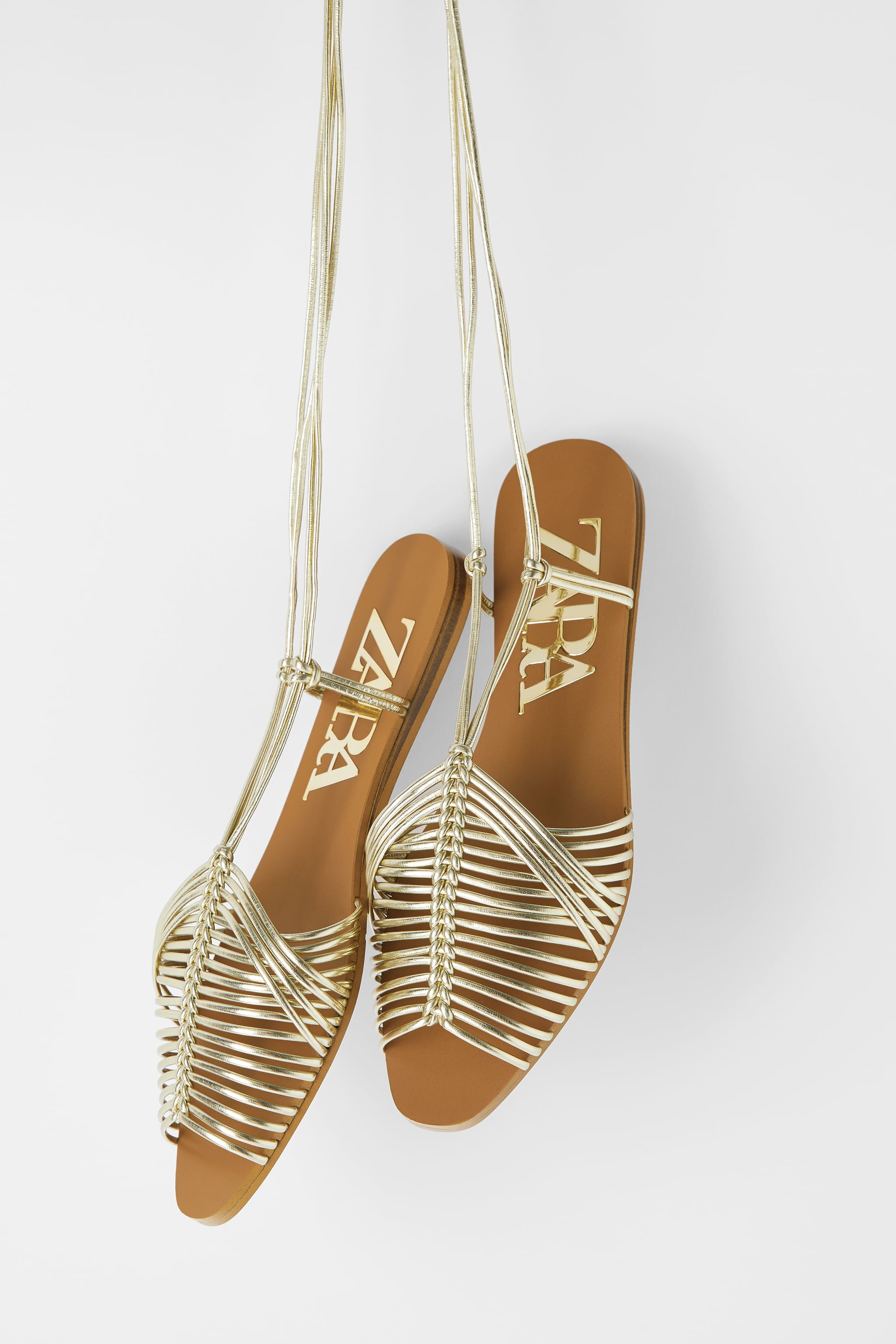 Zara FLAT MULTI-STRAP CAGE SANDALS WITH TUBE STRAPS
