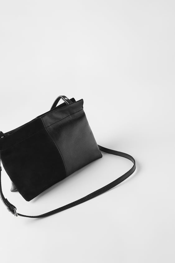 DOUBLE-POUCH LEATHER CROSSBODY BAG