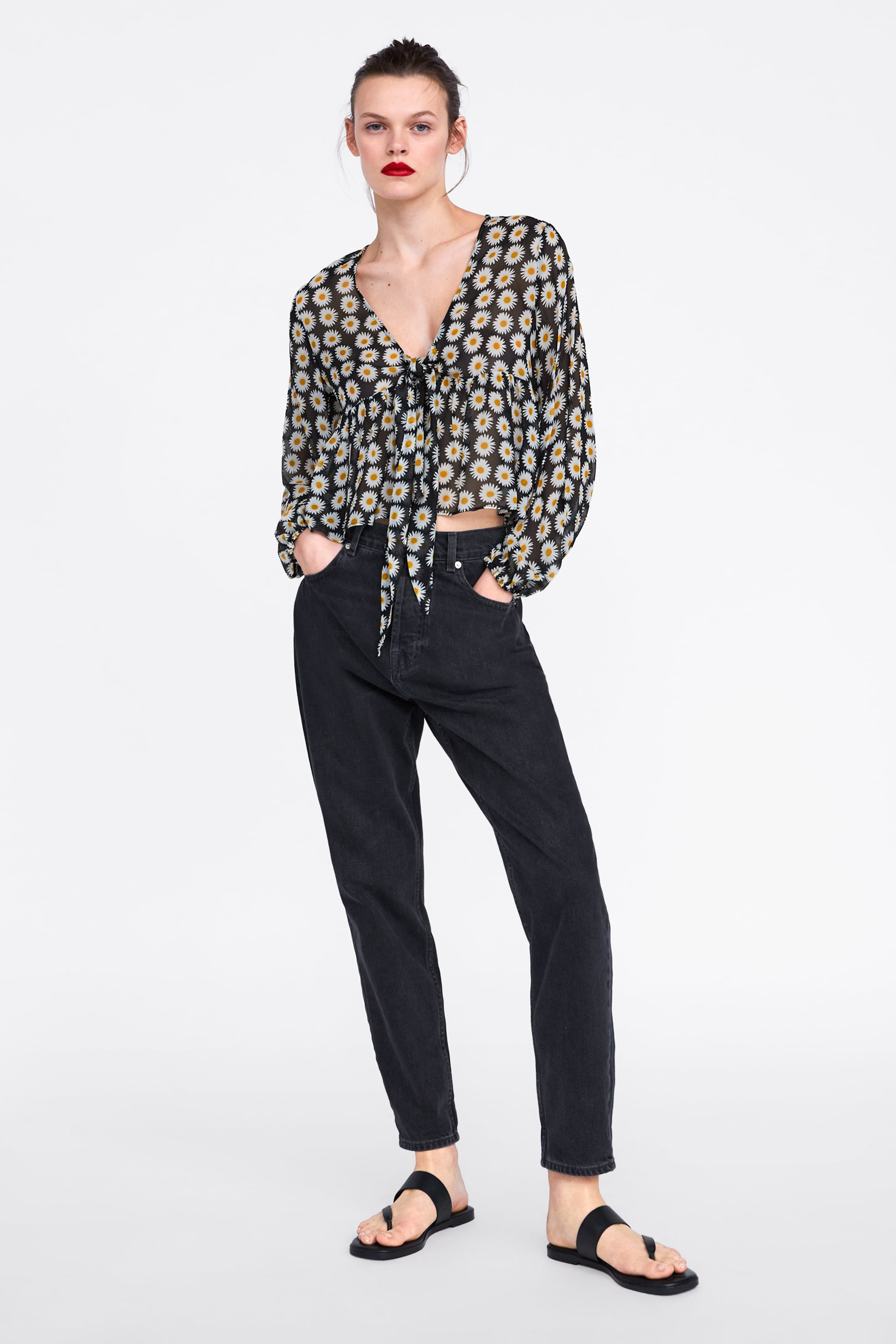 ce620532795 Zara FLORAL PRINT BLOUSE WITH RUFFLE