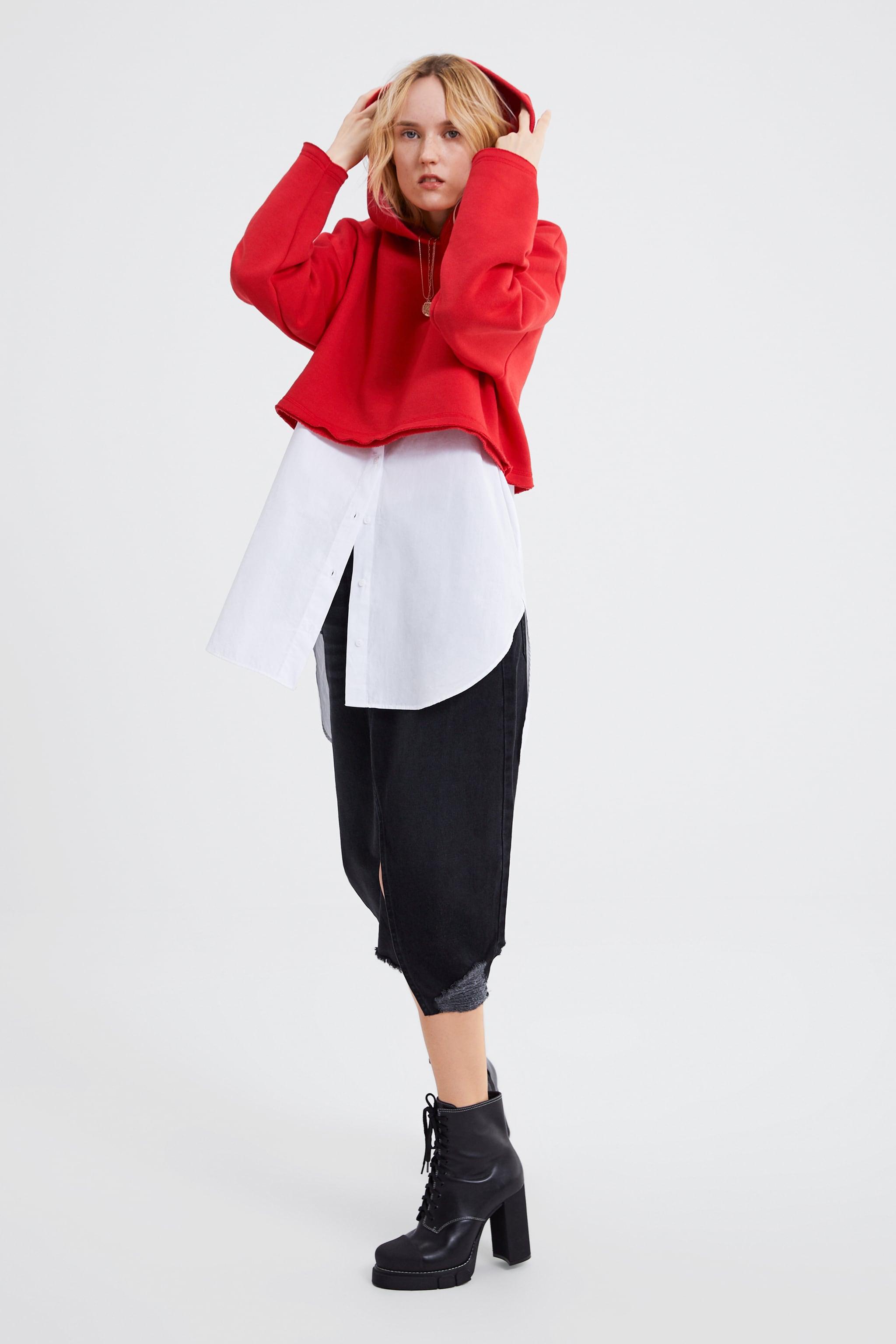 Zara CROPPED HOODED SWEATSHIRT 01579edbd07