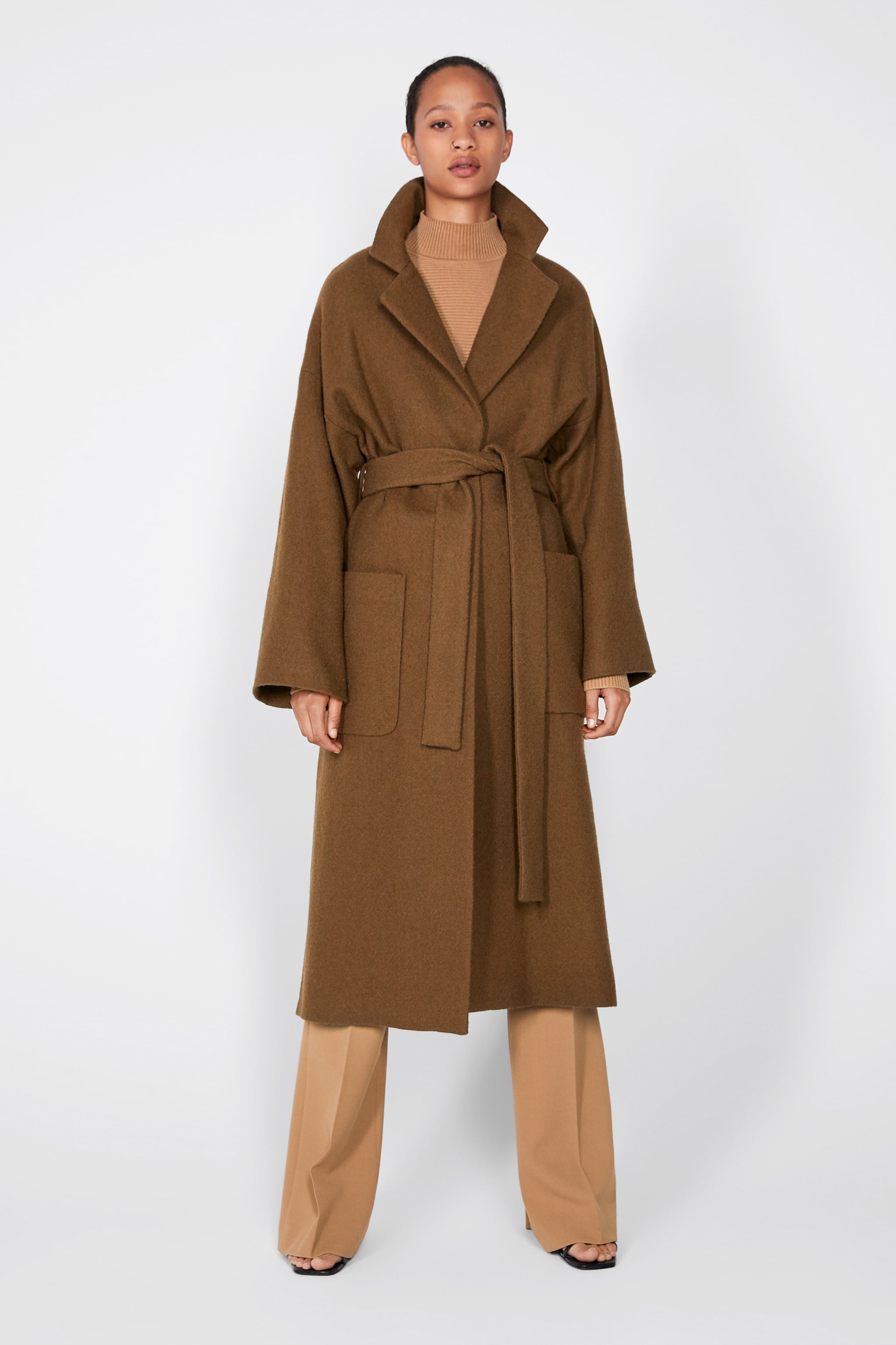 f36e5d0296 Zara BELTED DOUBLE-BREASTED COAT