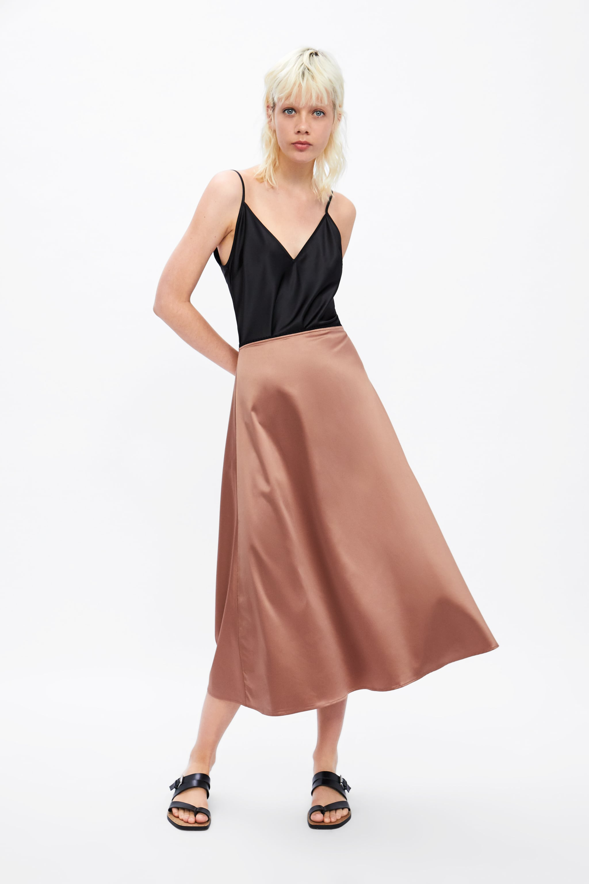 bed5788e451 Zara SATIN SKIRT WITH LACE TRIM