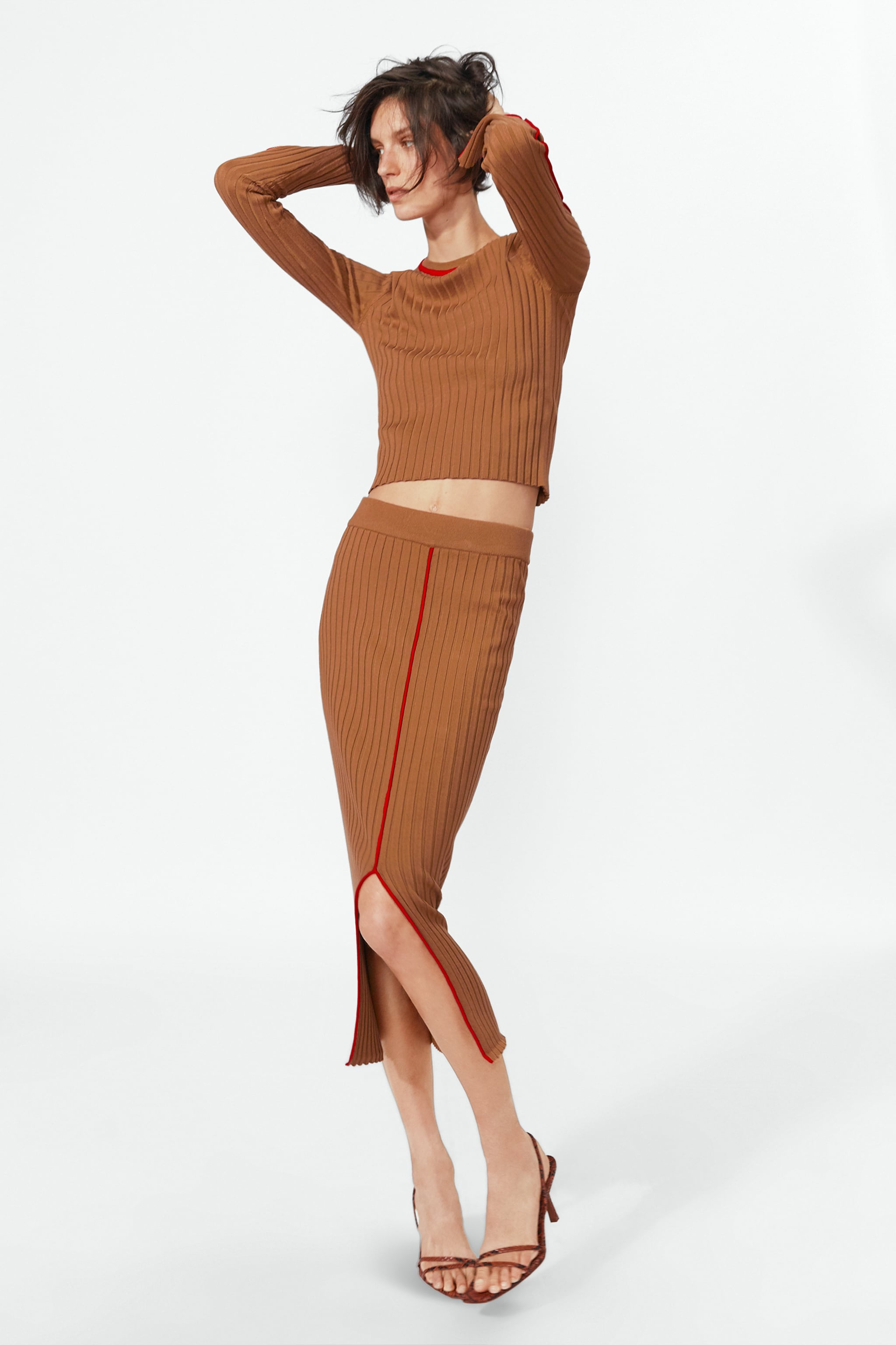 Zara RIBBED SWEATER WITH CONTRASTING PIPING