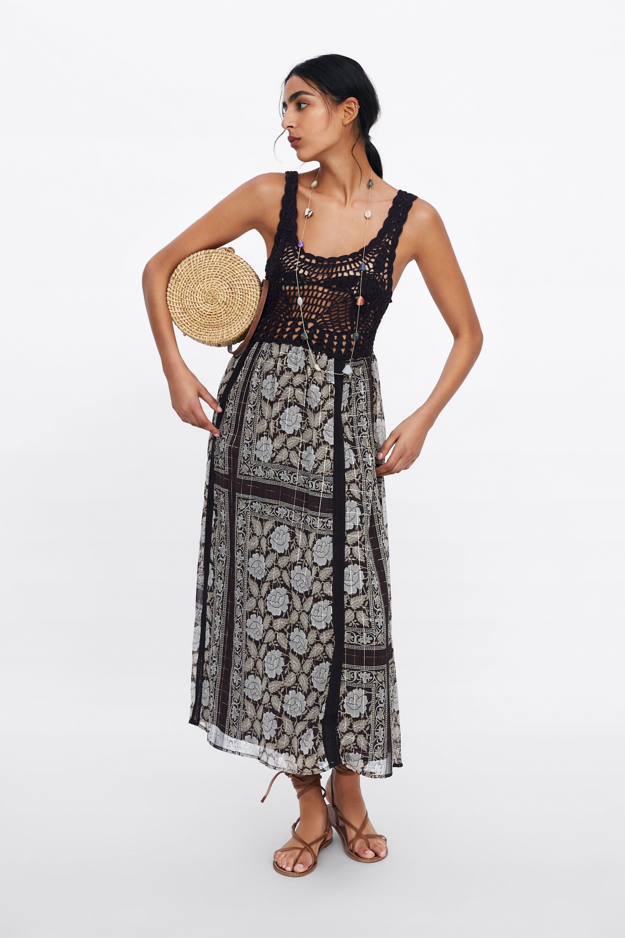 84e4d8078e Zara METALLIC THREAD PRINTED DRESS