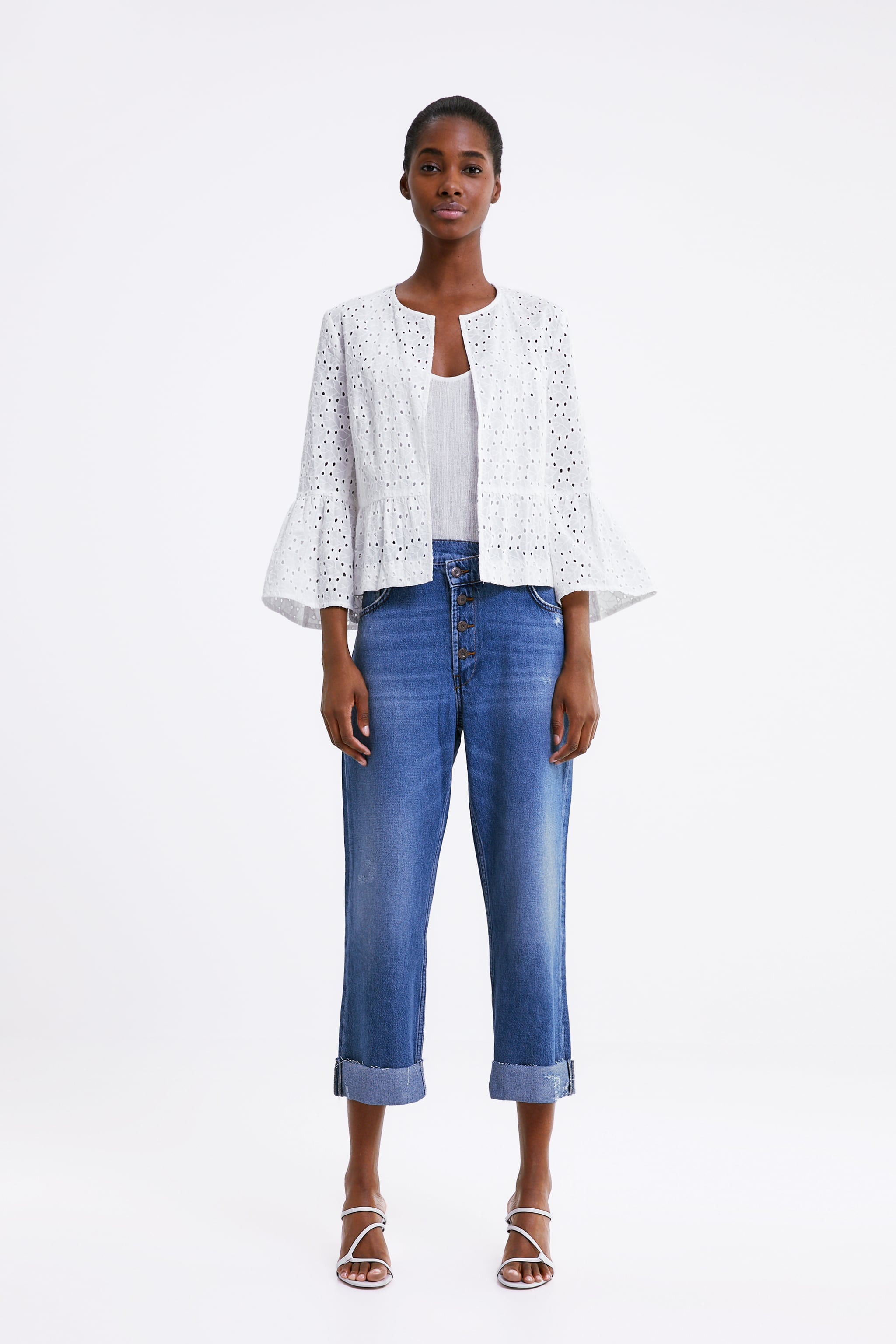 c1d13723680 Zara EMBROIDERED JACKET WITH RUFFLES