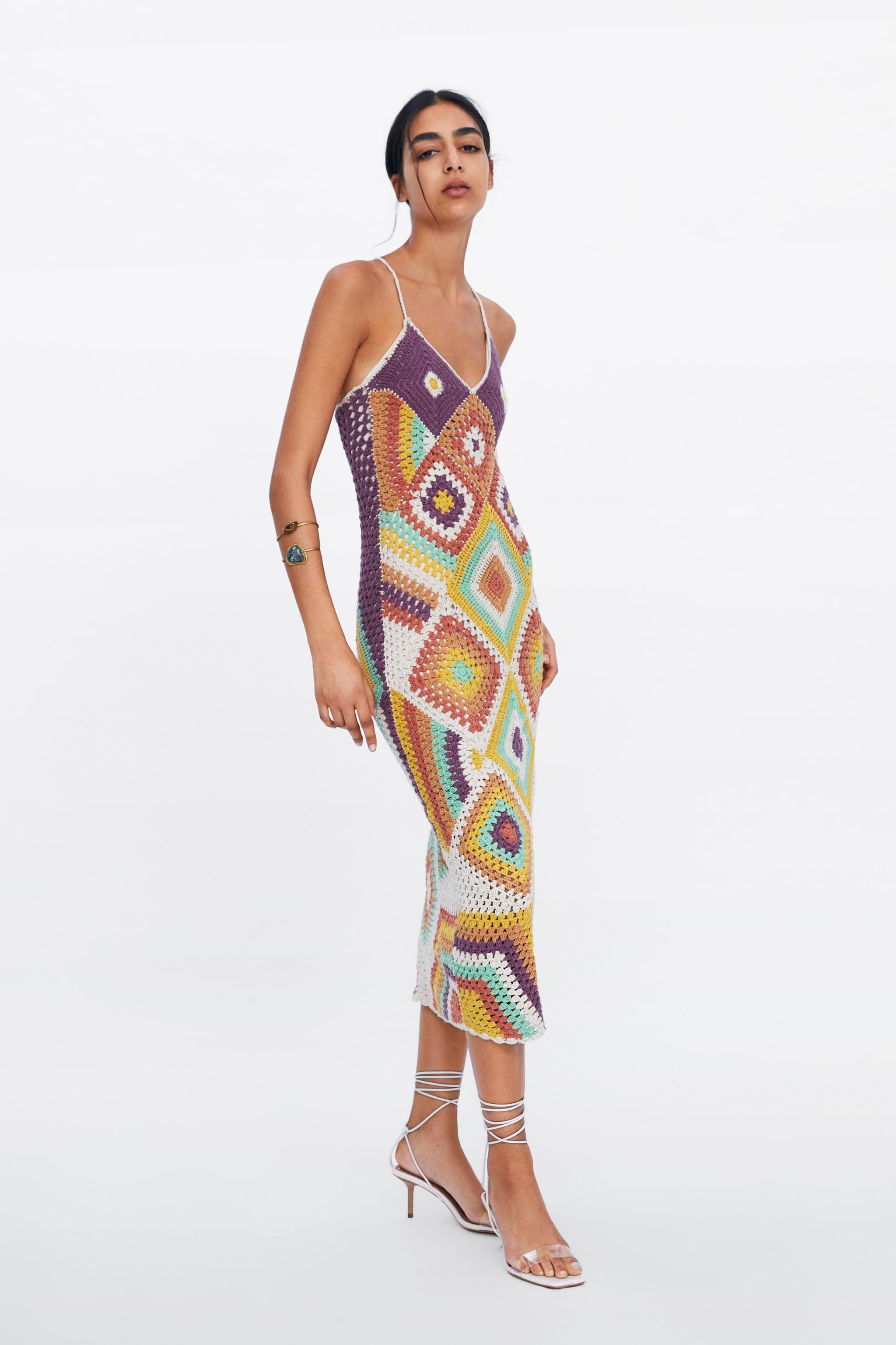 Zara COLORFUL CROCHETED DRESS