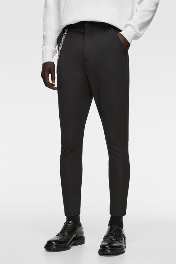 7d221373e1e59 Zara TAPERED FIT PANTS WITH CHAIN