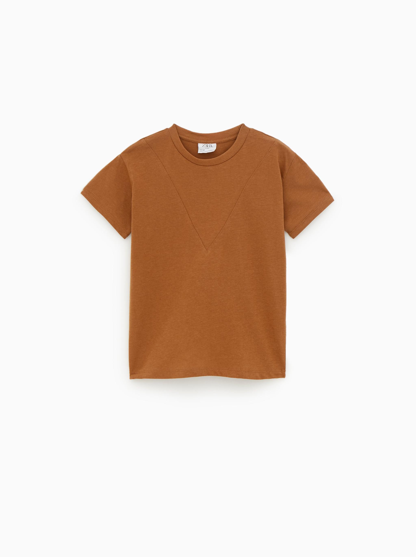 f5b01d17e43 Zara PLAIN T-SHIRT WITH SEAM DETAIL