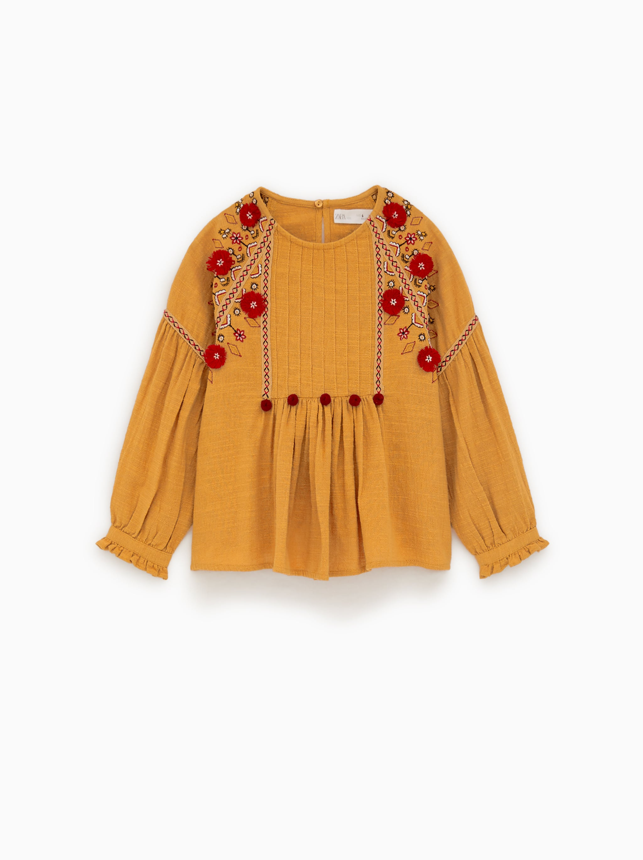2196a40b702f Zara EMBROIDERED BLOUSE