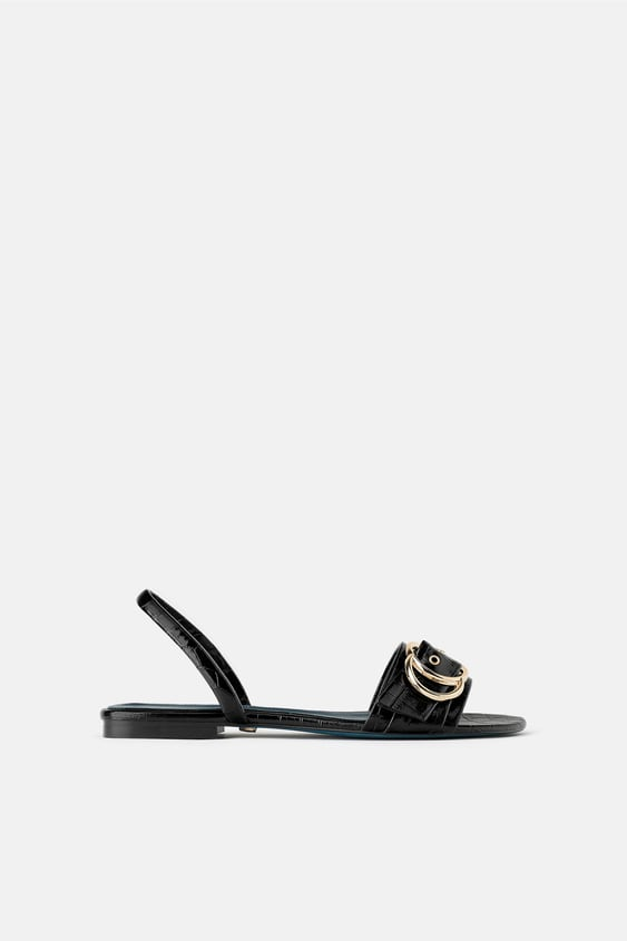 Zara BLUE COLLECTION FLAT LEATHER SANDALS
