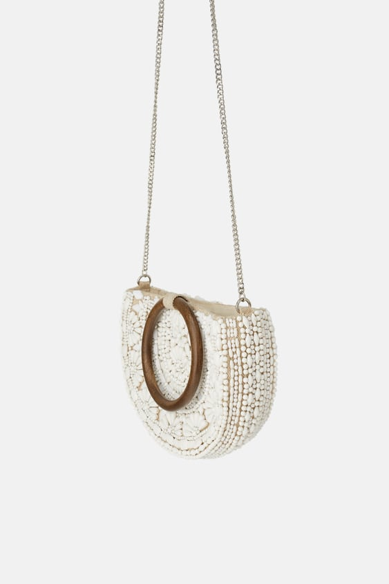 NATURAL BEADED OVAL CROSSBODY BAG