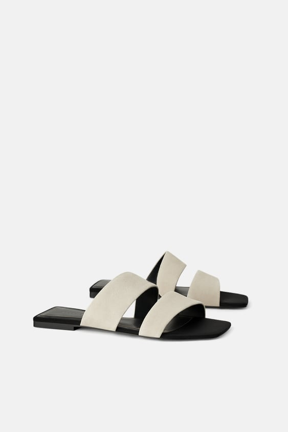 JOIN LIFE SPLIT LEATHER LOW HEELED SANDALS