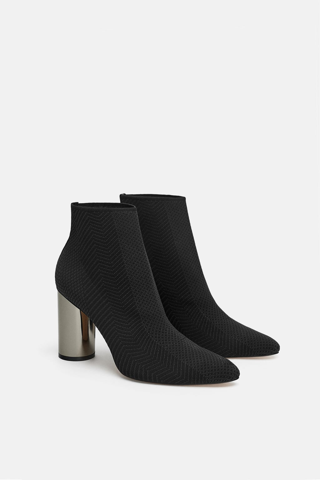 bfe7067750a Zara FABRIC ANKLE BOOT WITH METALLIC HEEL