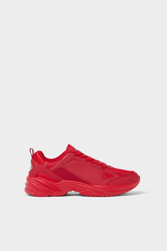 Zara RED THICK-SOLED SNEAKERS