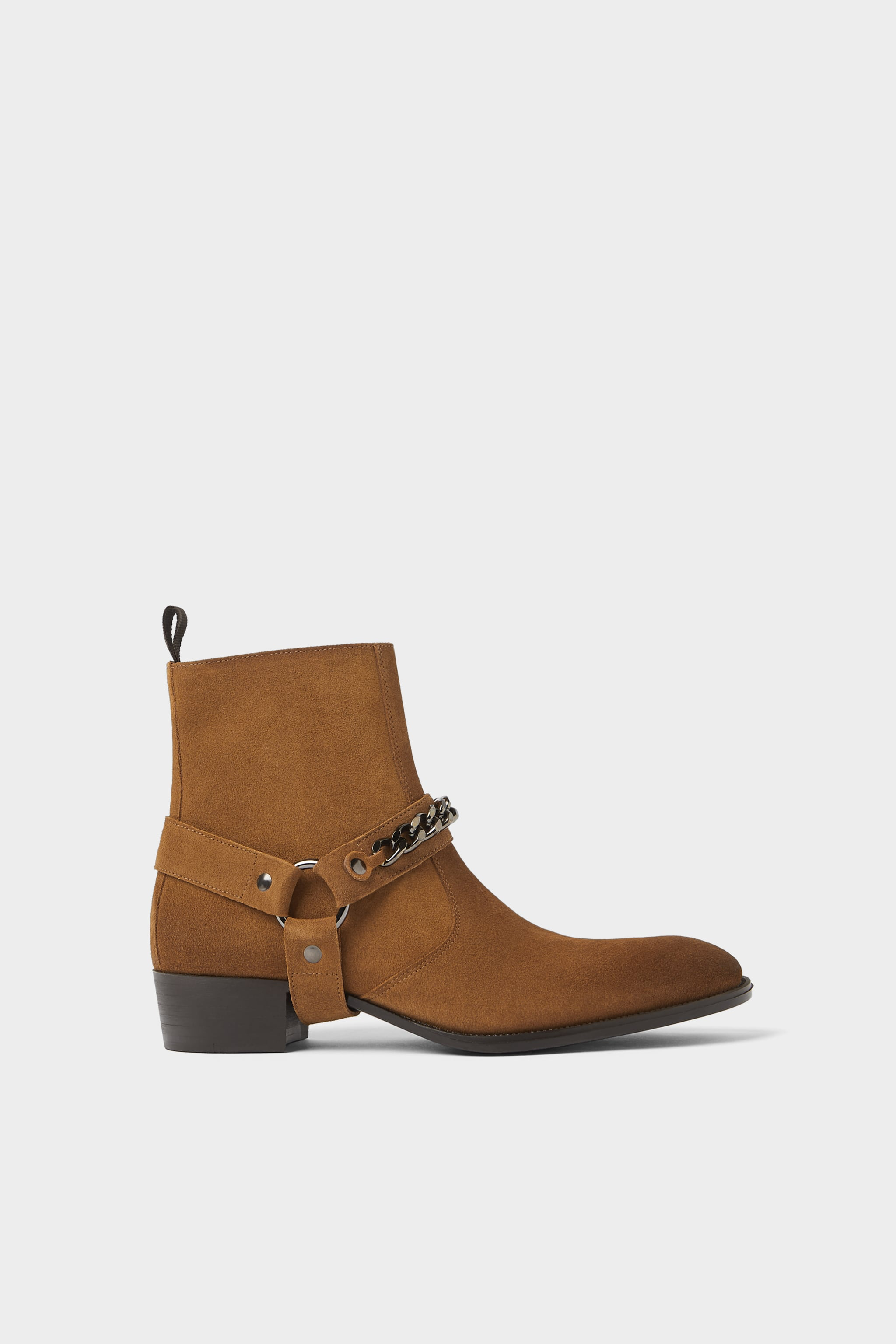 29355c0f860 Zara LEATHER BOOTS WITH CHAIN