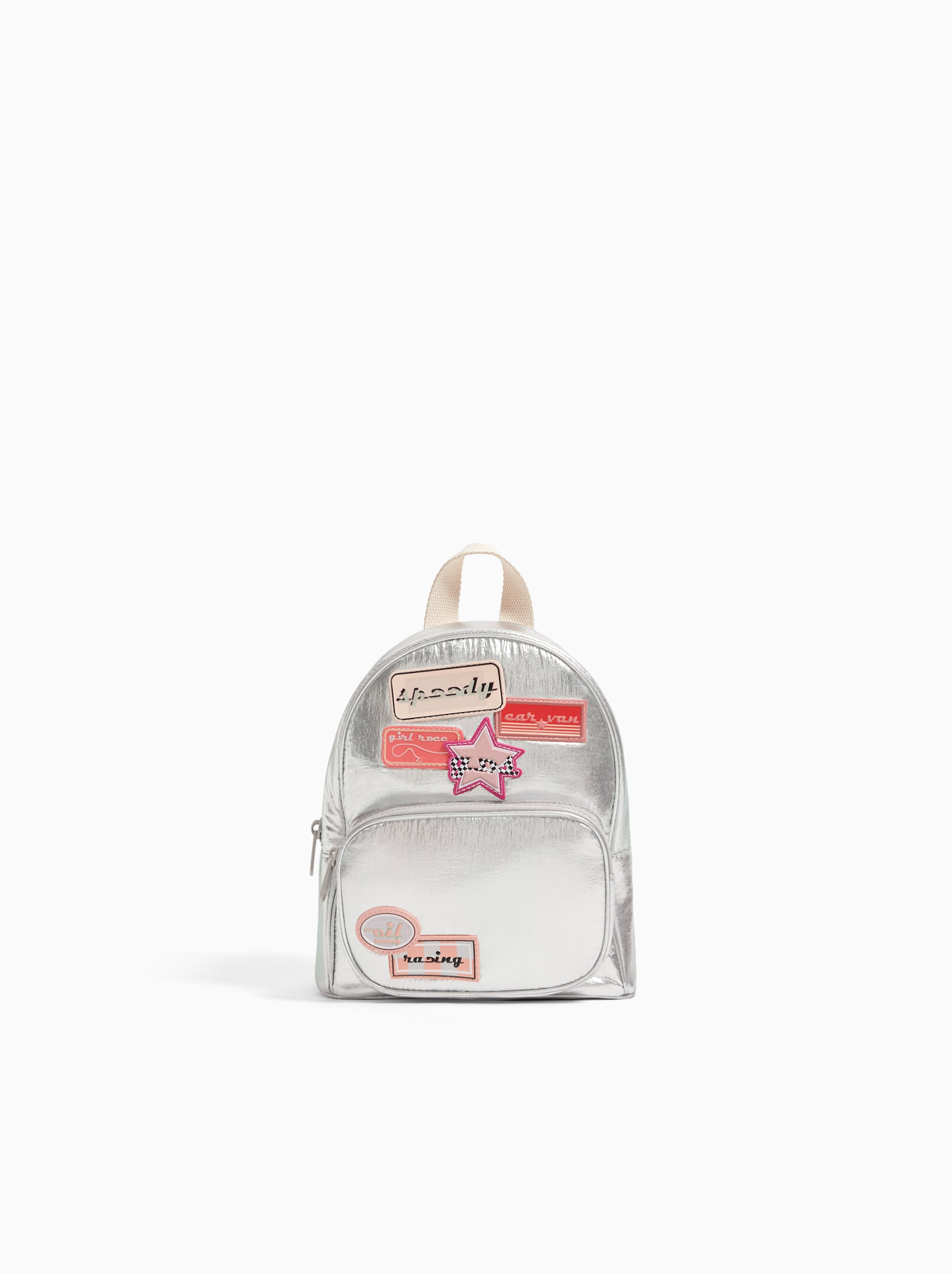 f9edd41a6cdd Zara METALLIC MINI BACKPACK WITH PATCHES