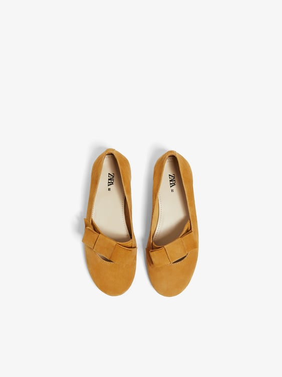 Zara LEATHER BALLET FLATS WITH BOW