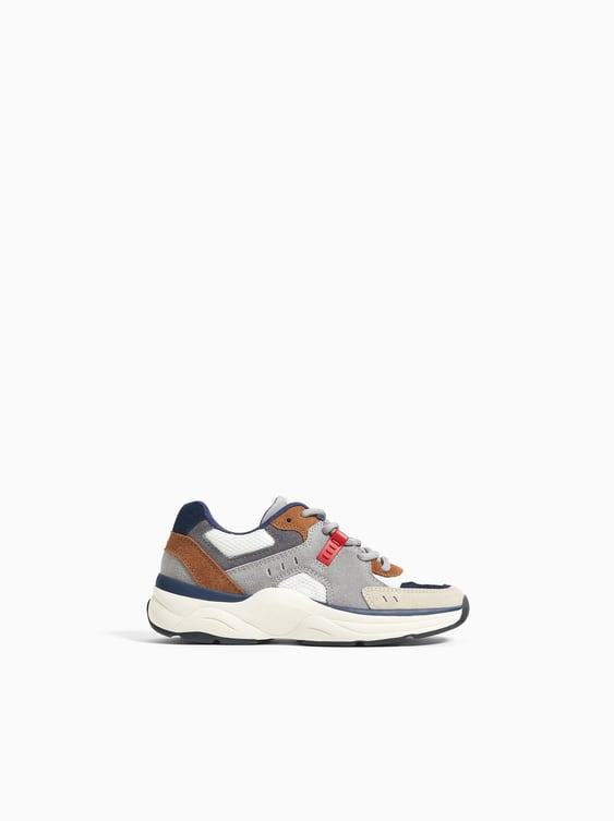 Zara LEATHER THICK SOLED SNEAKERS