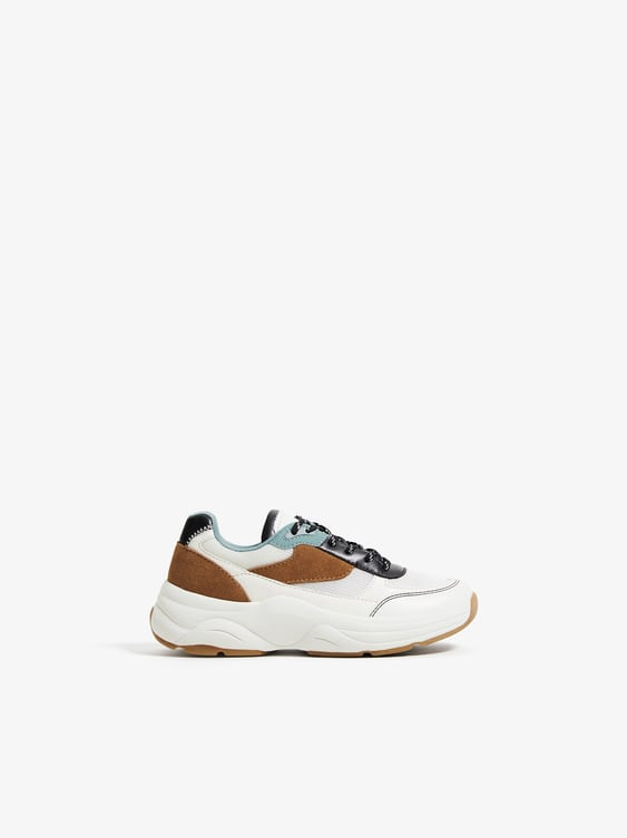 LEATHER TRIM SNEAKERS