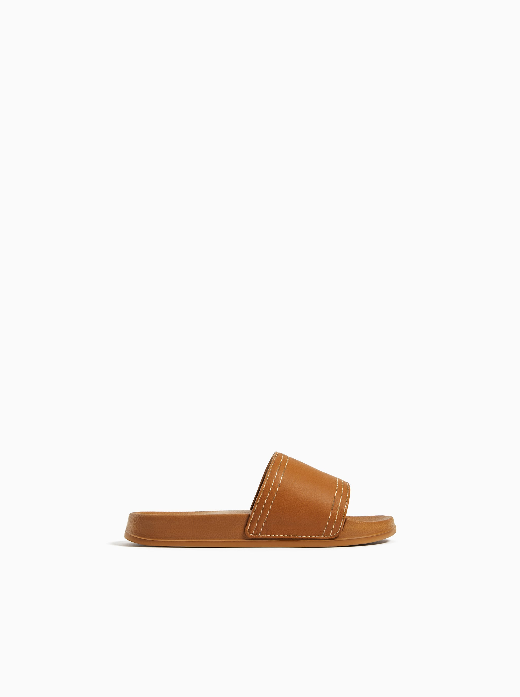 check out 20680 c53f7 Zara LEATHER SLIDE SANDALS