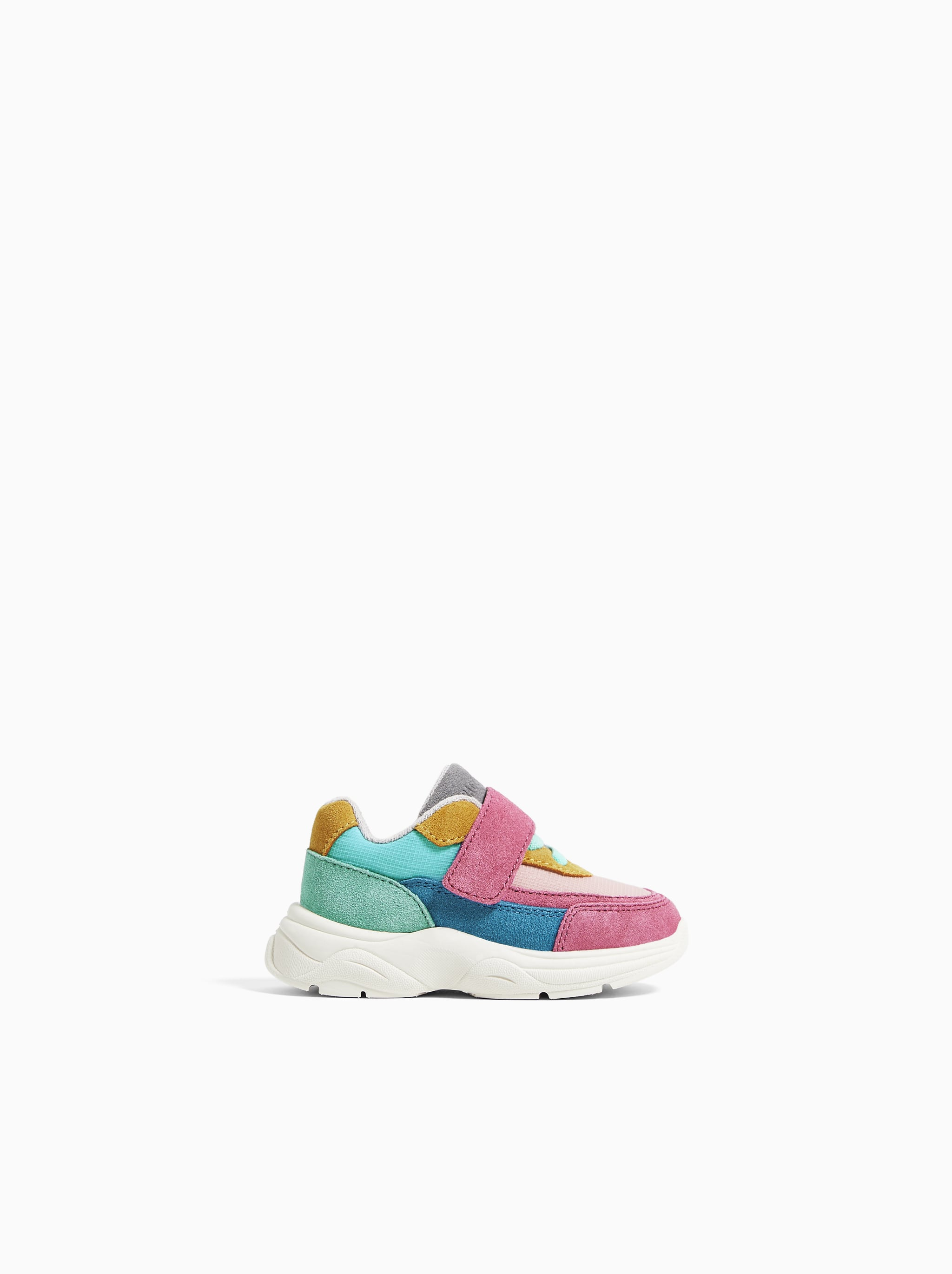 e750b0a5bb12 Zara CONTRASTING LEATHER SNEAKERS