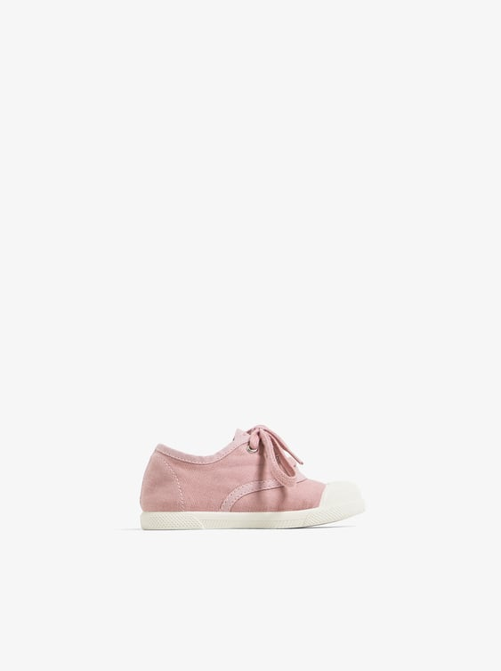 WASHED EFFECT CAP TOE SNEAKERS