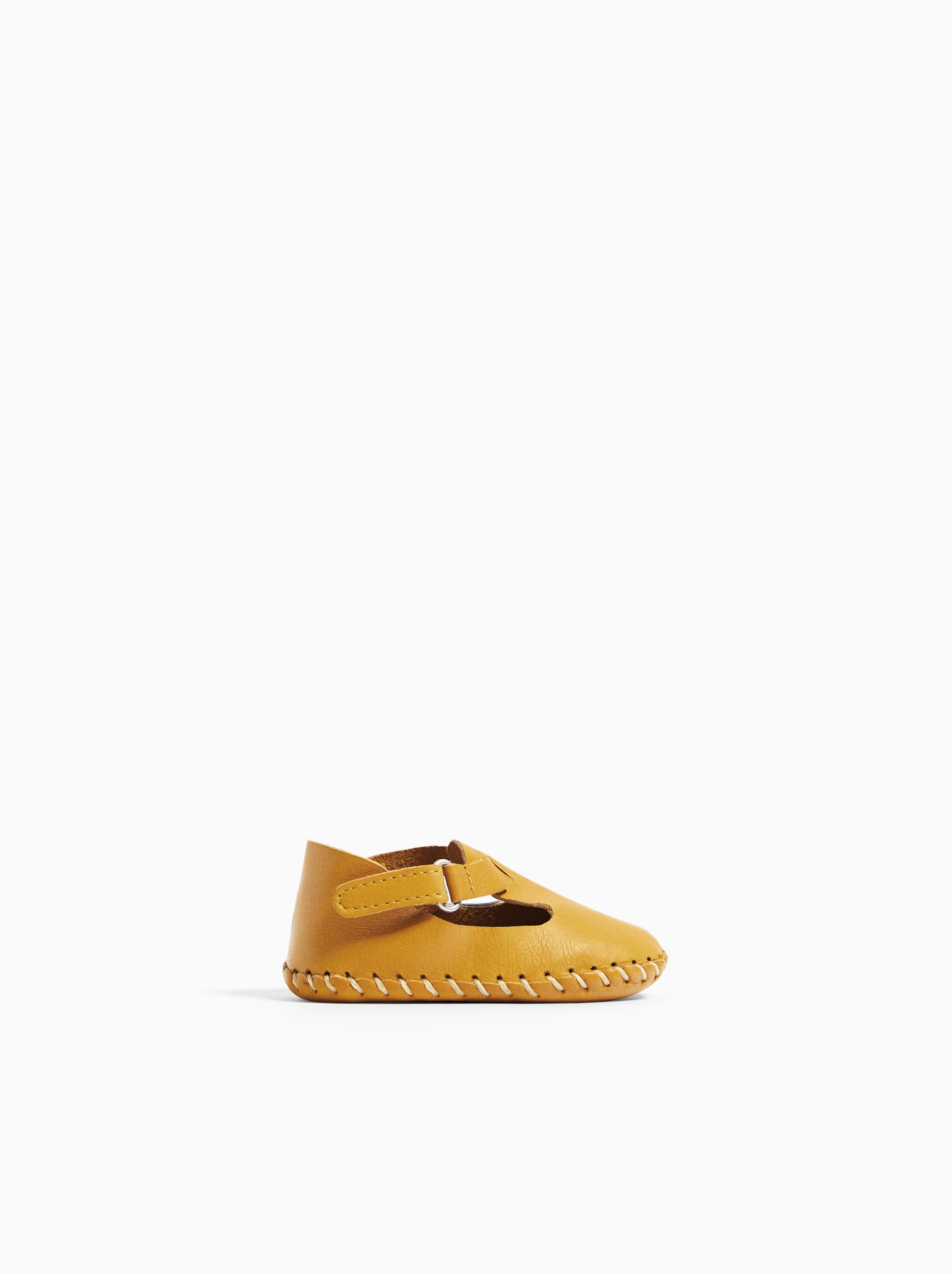 Zara LEATHER SHOES WITH TOPSTITCHING