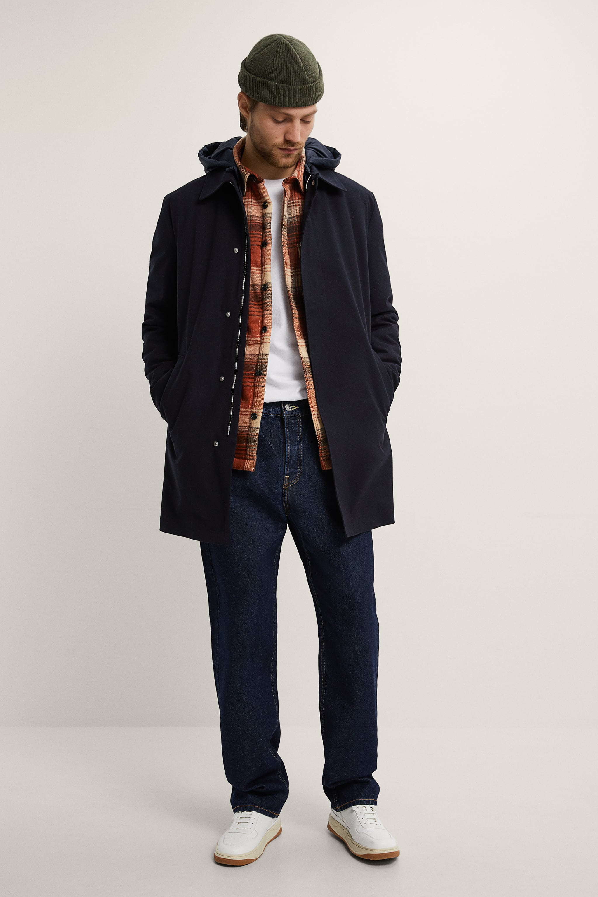 자라 Zara COMBINATION PARKA VEST,Navy blue