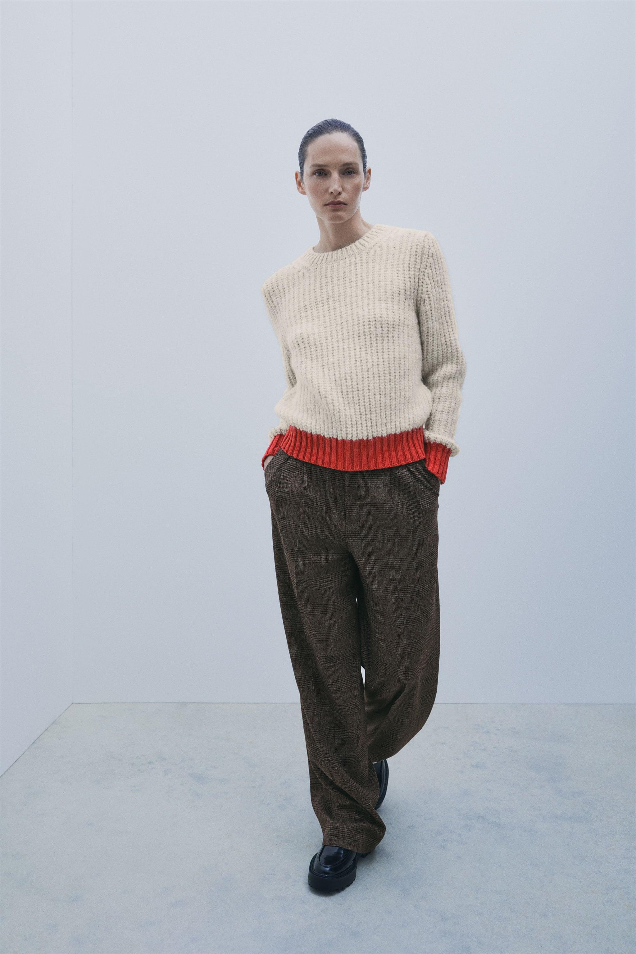 Zara CONTRAST TRIM SWEATER