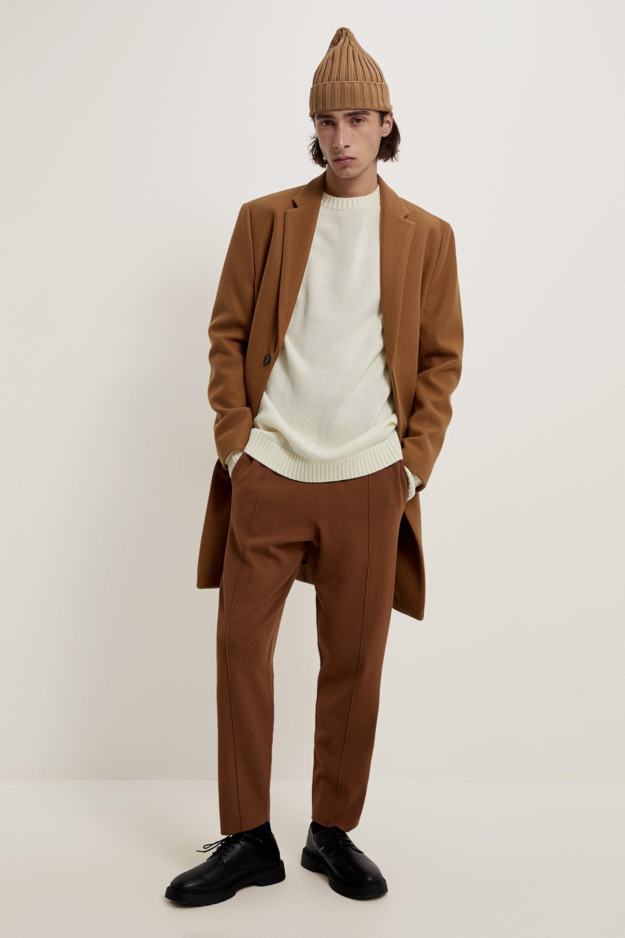 Zara STRETCH KNIT CLOTH COAT