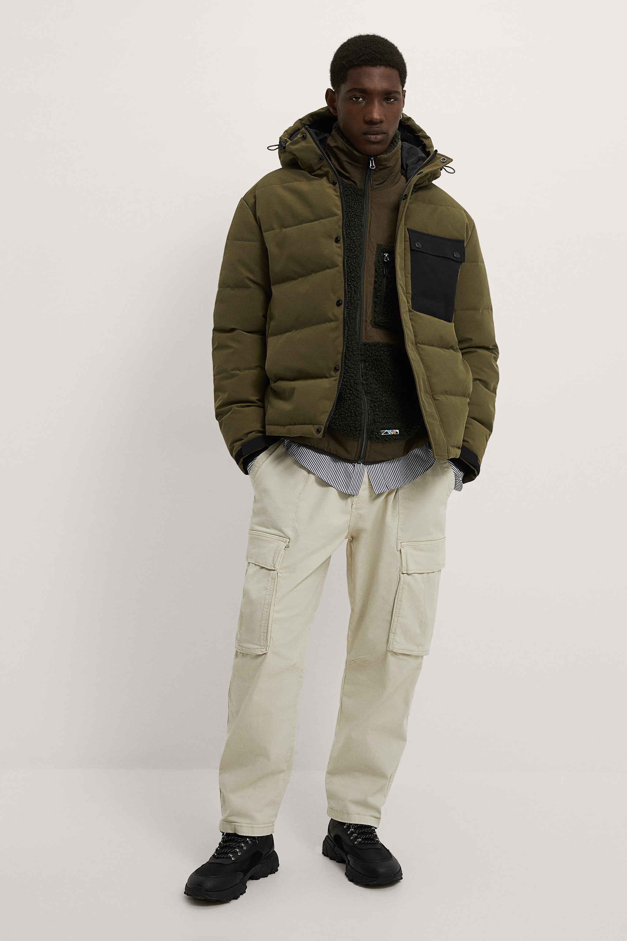 자라 Zara COMBINATION POCKET PUFFER JACKET,Khaki