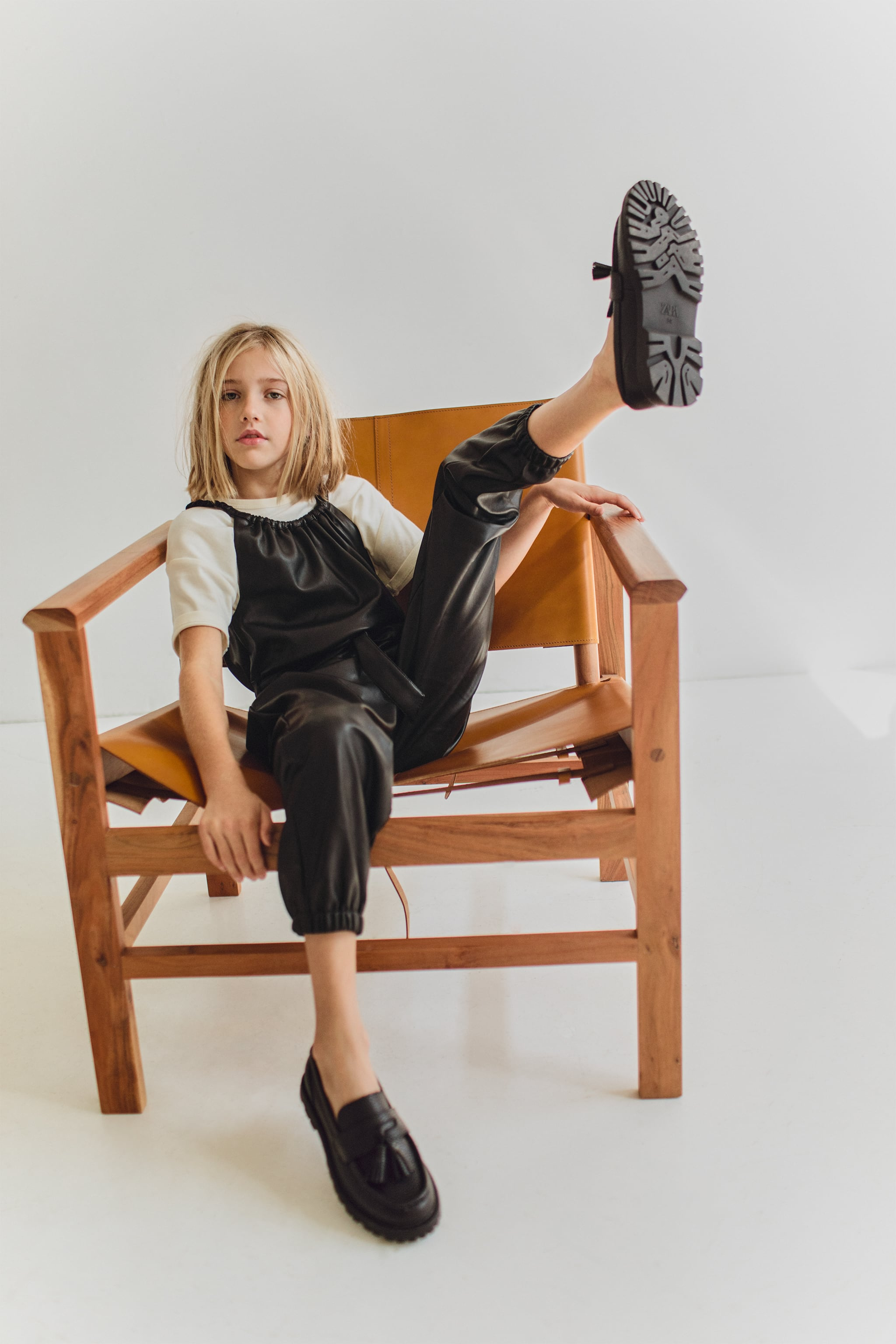 Zara BELTED FAUX LEATHER JUMPSUIT