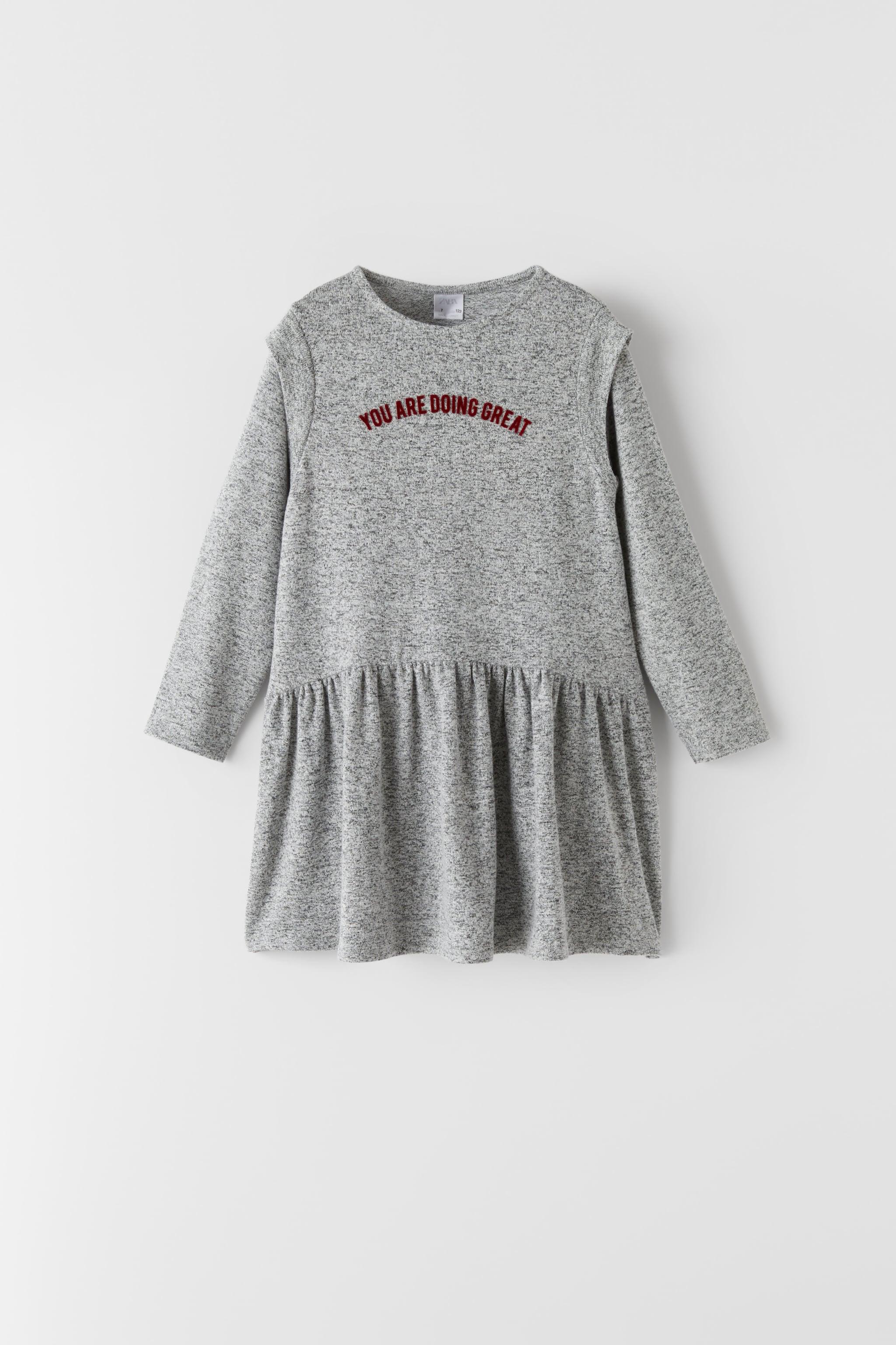 Zara SOFT TOUCH TEXT DETAIL DRESS
