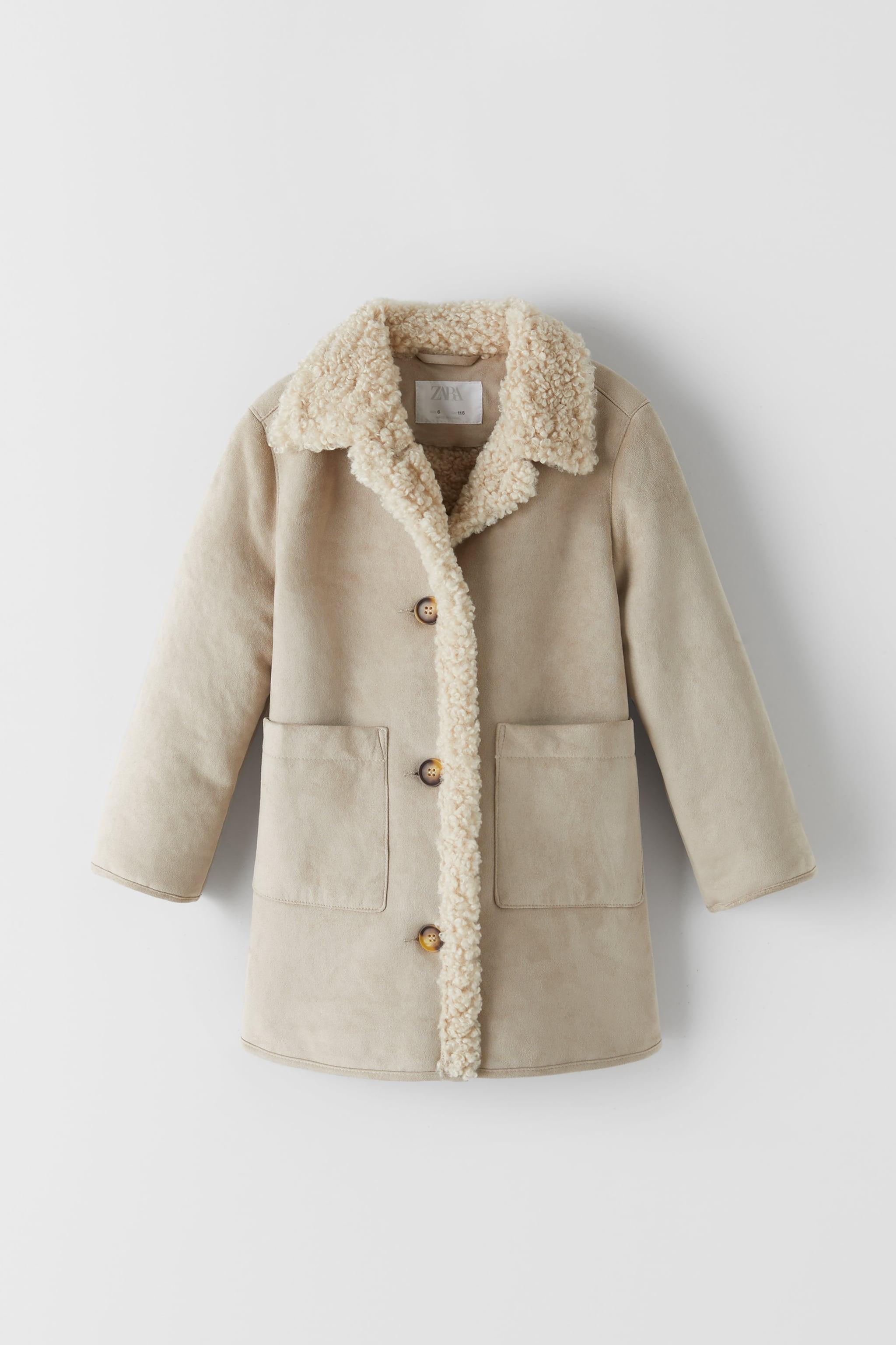 Zara DOUBLE SIDED FAUX SHEARLING COAT