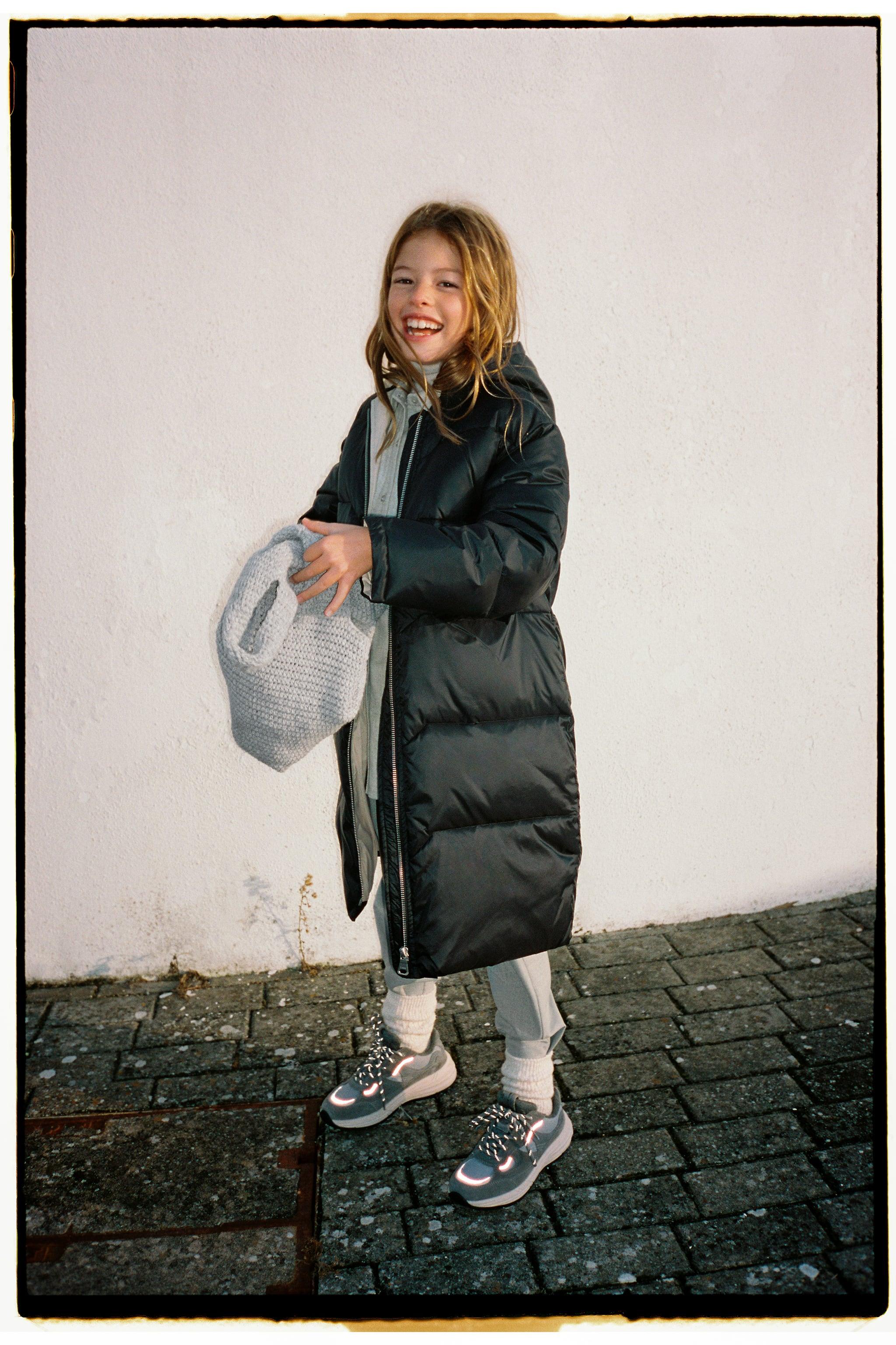 Zara CONTRAST LINED LONG PUFFER JACKET