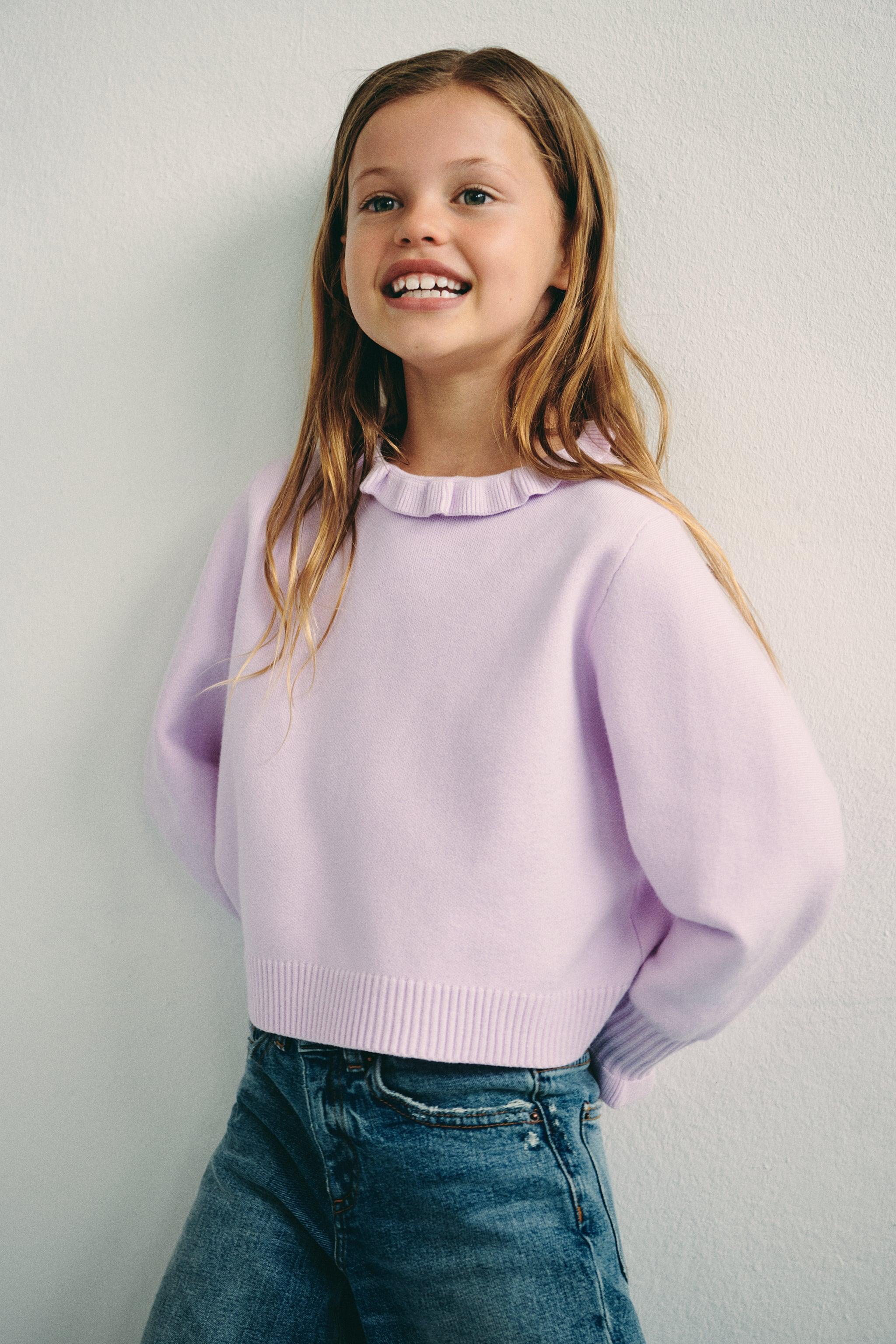 Zara KNIT SWEATER WITH RUFFLES
