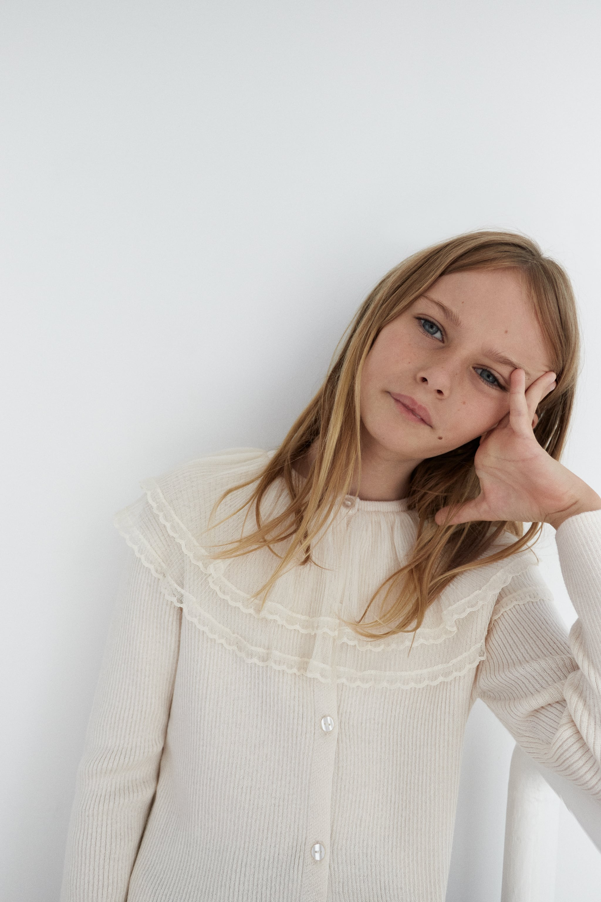 Zara KNIT CARDIGAN WITH TULLE RUFFLE