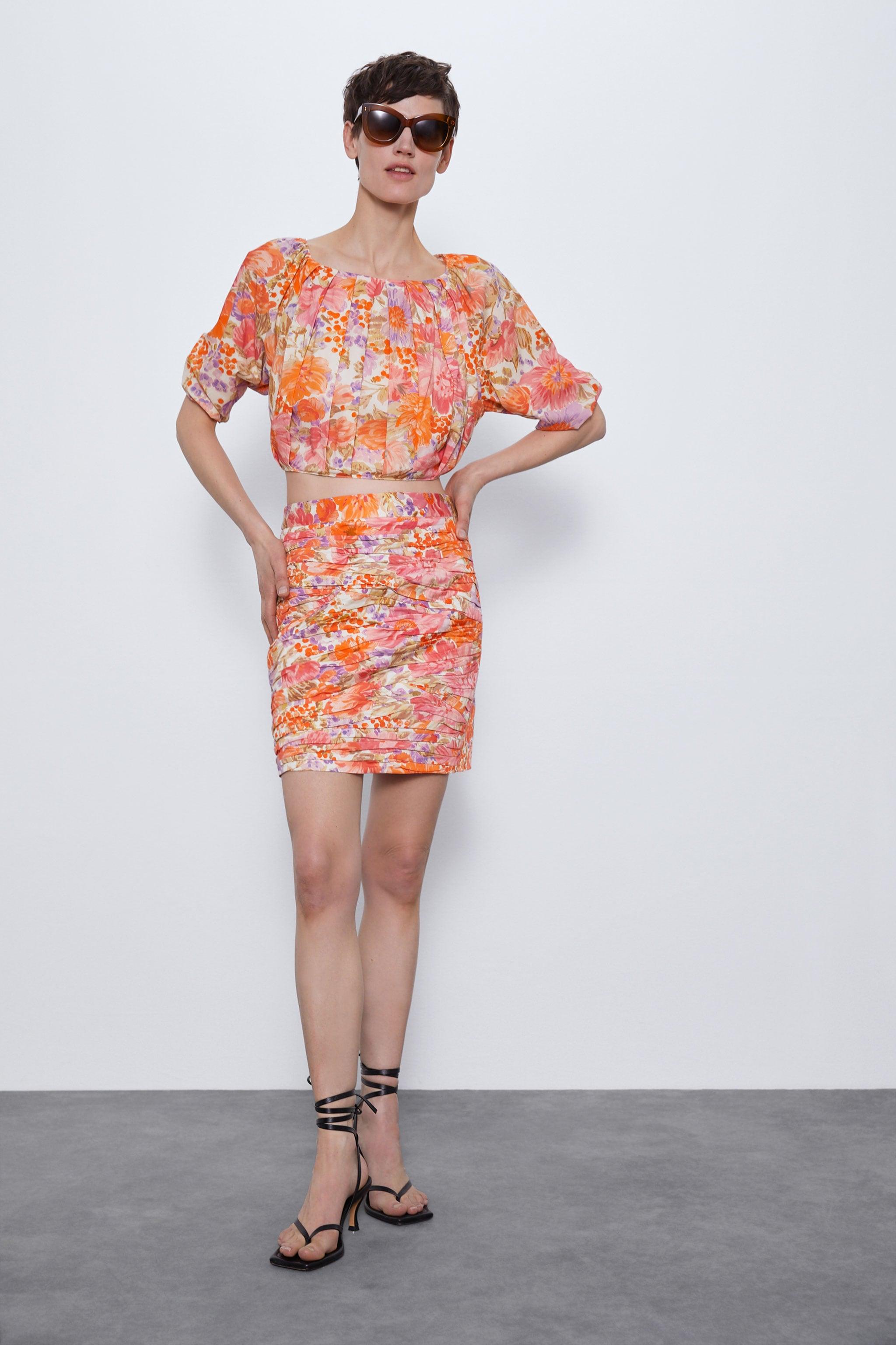 자라 Zara FLORAL PRINT MINI SKIRT,Multicolored