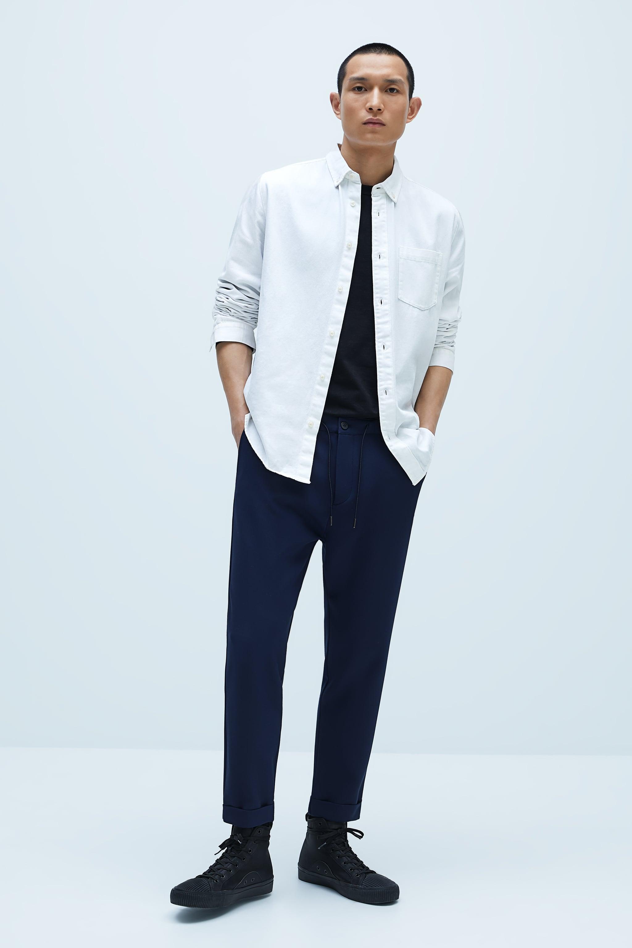 자라 맨 바지 Zara JOGGER WAIST SLIM FIT PANTS,Blue