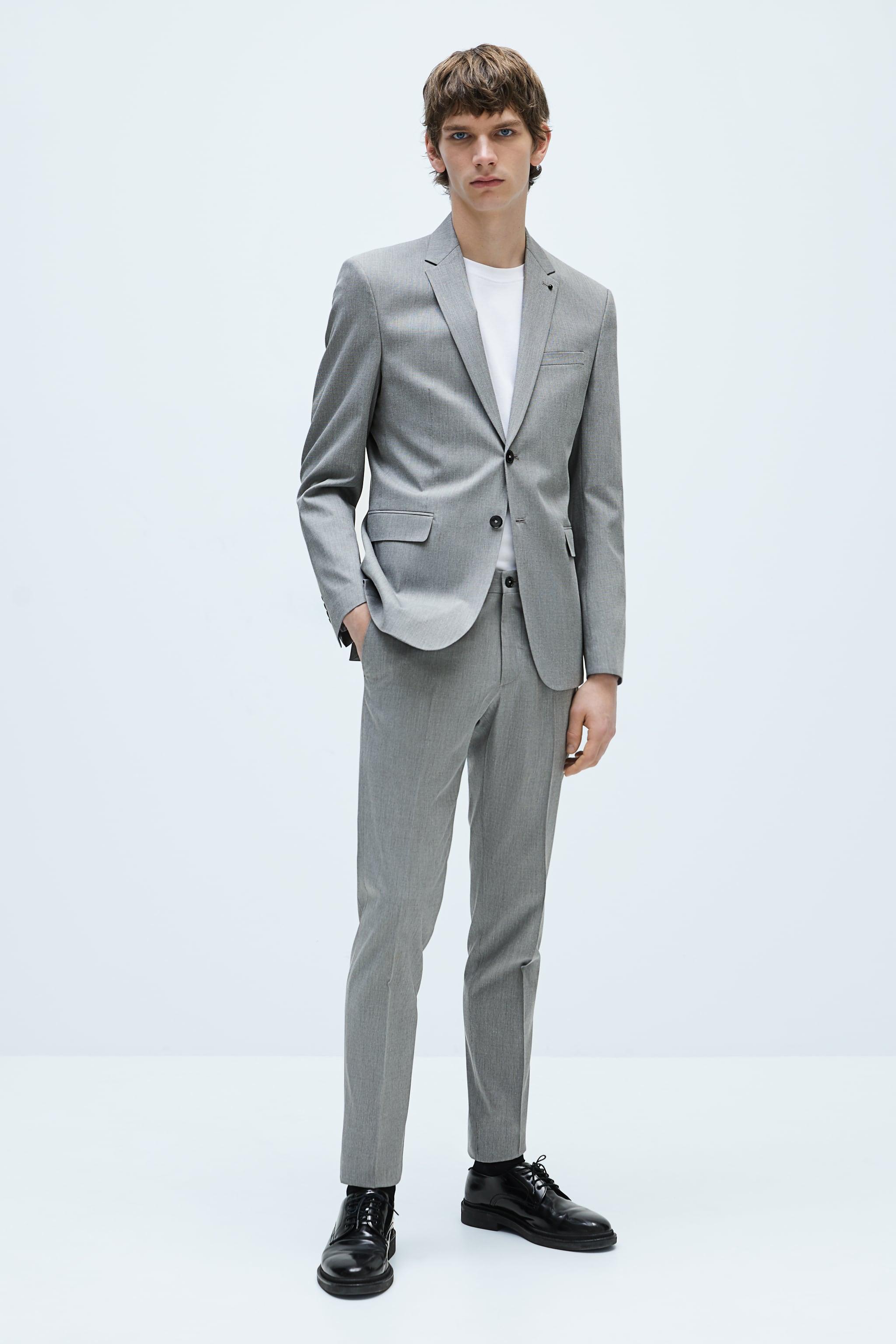 자라 맨 바지 Zara STRETCH SHEEN SUIT PANTS,Gray