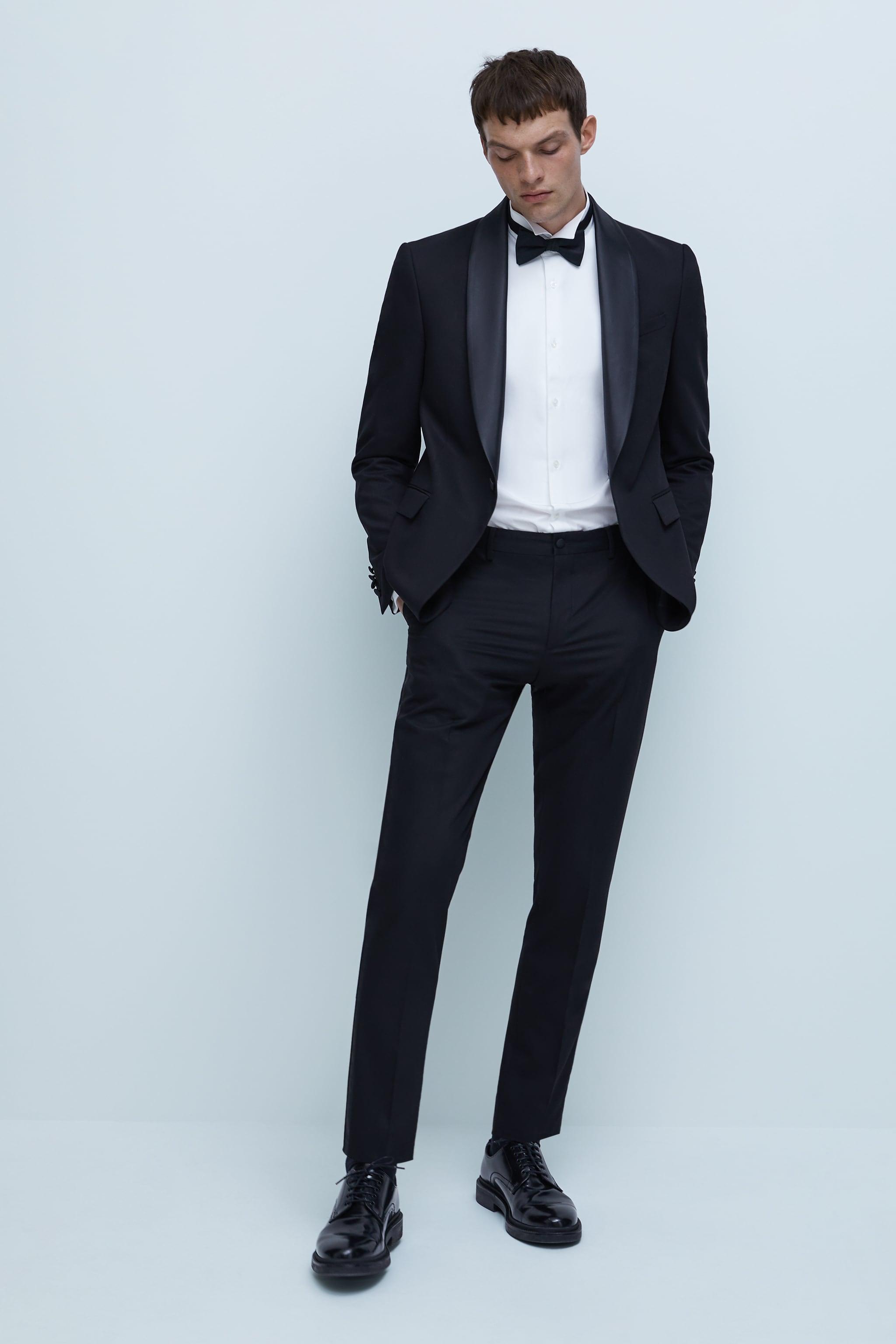 자라 Zara TUXEDO COLLAR SHIRT,White