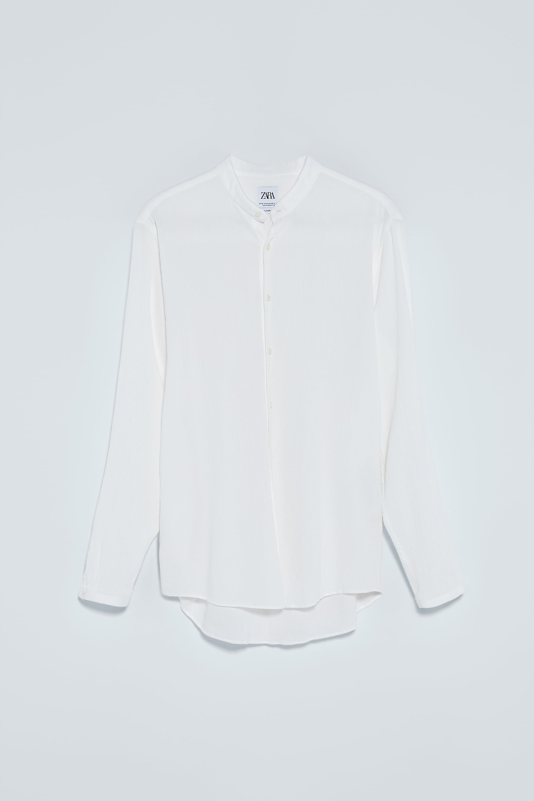 자라 Zara WRINKLED EFFECT RUSTIC SHIRT,White