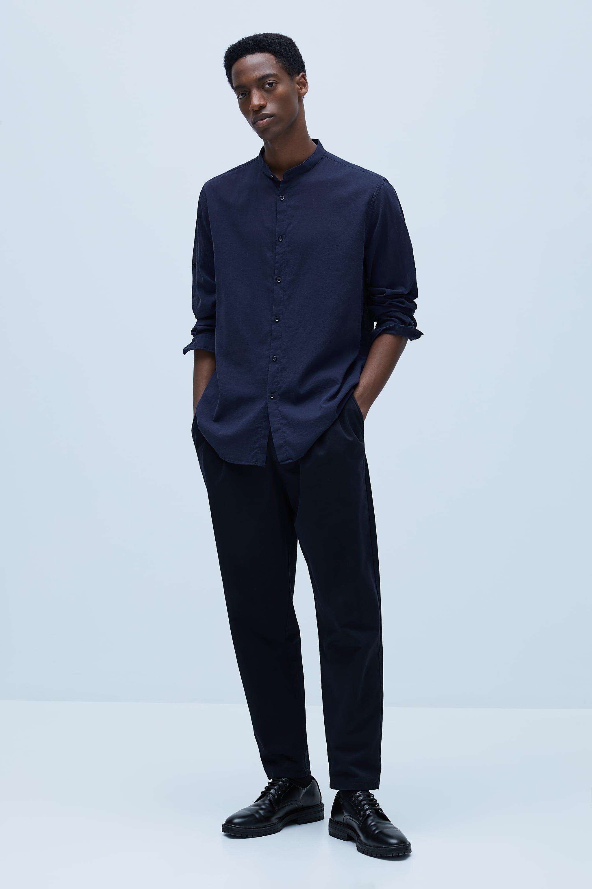 자라 Zara WRINKLED LOOK SHIRT,Navy blue