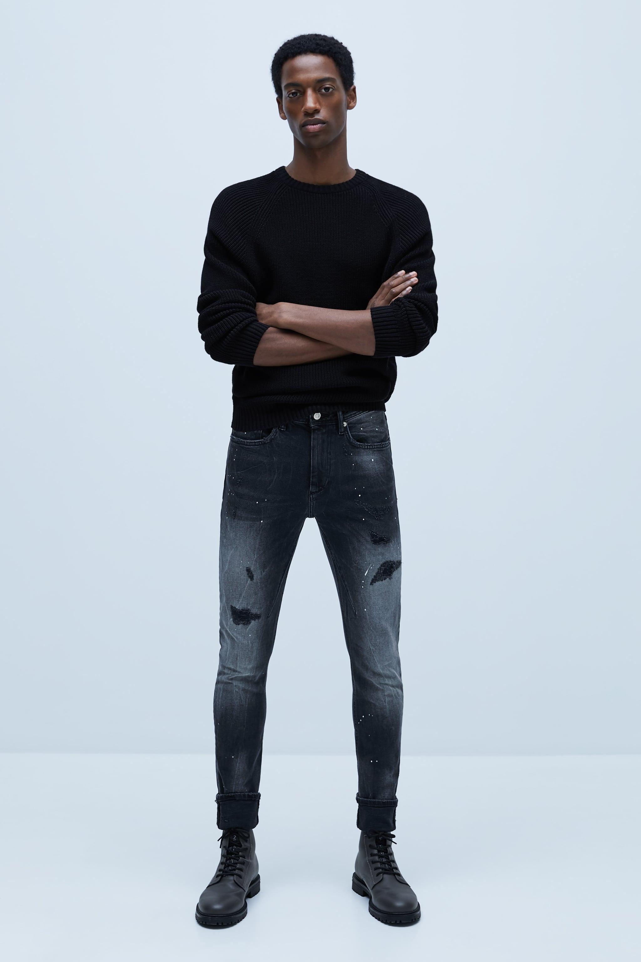 자라 Zara SPLATTERED SKINNY JEANS,Black