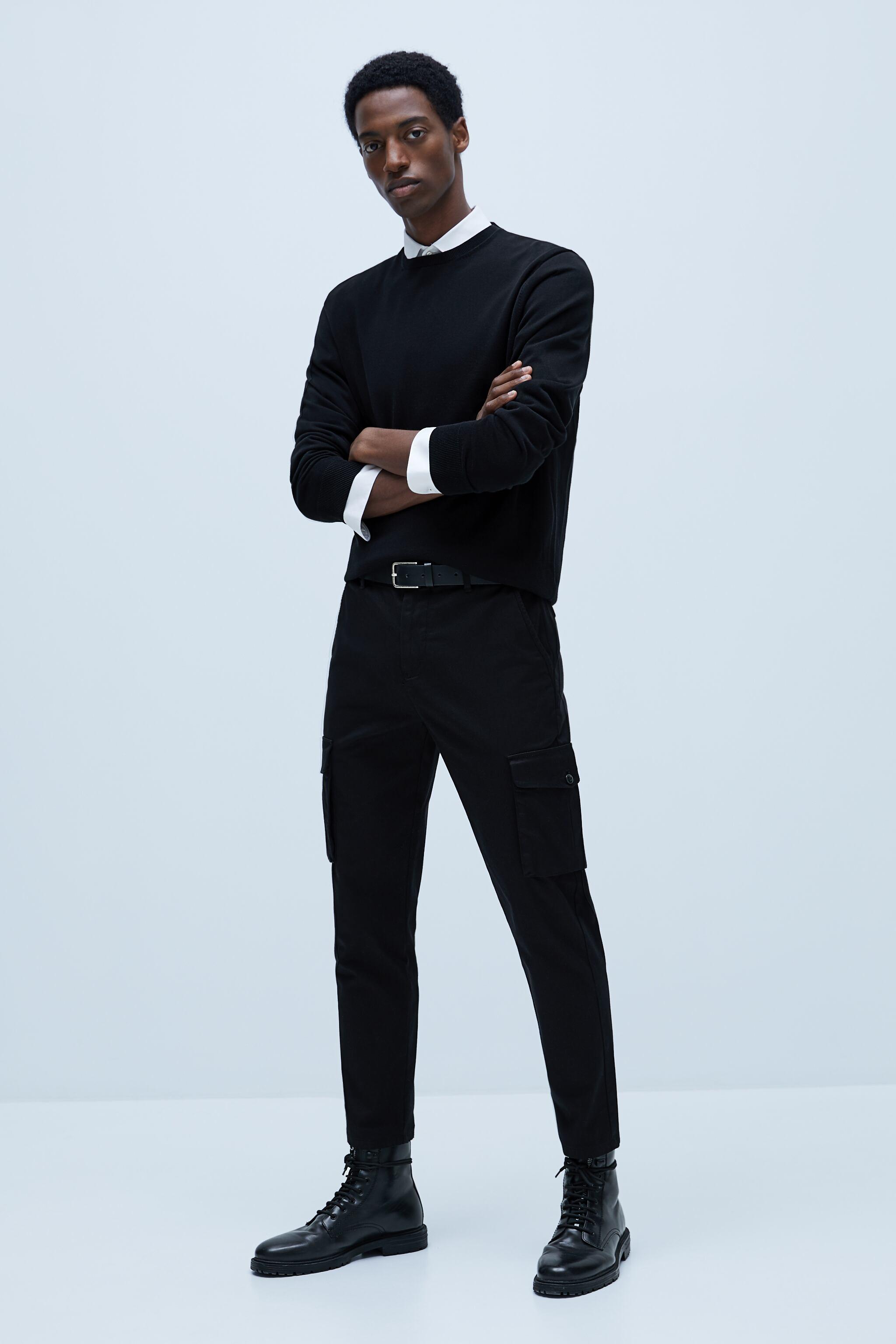 자라 Zara SLIM CARGO PANTS,Black