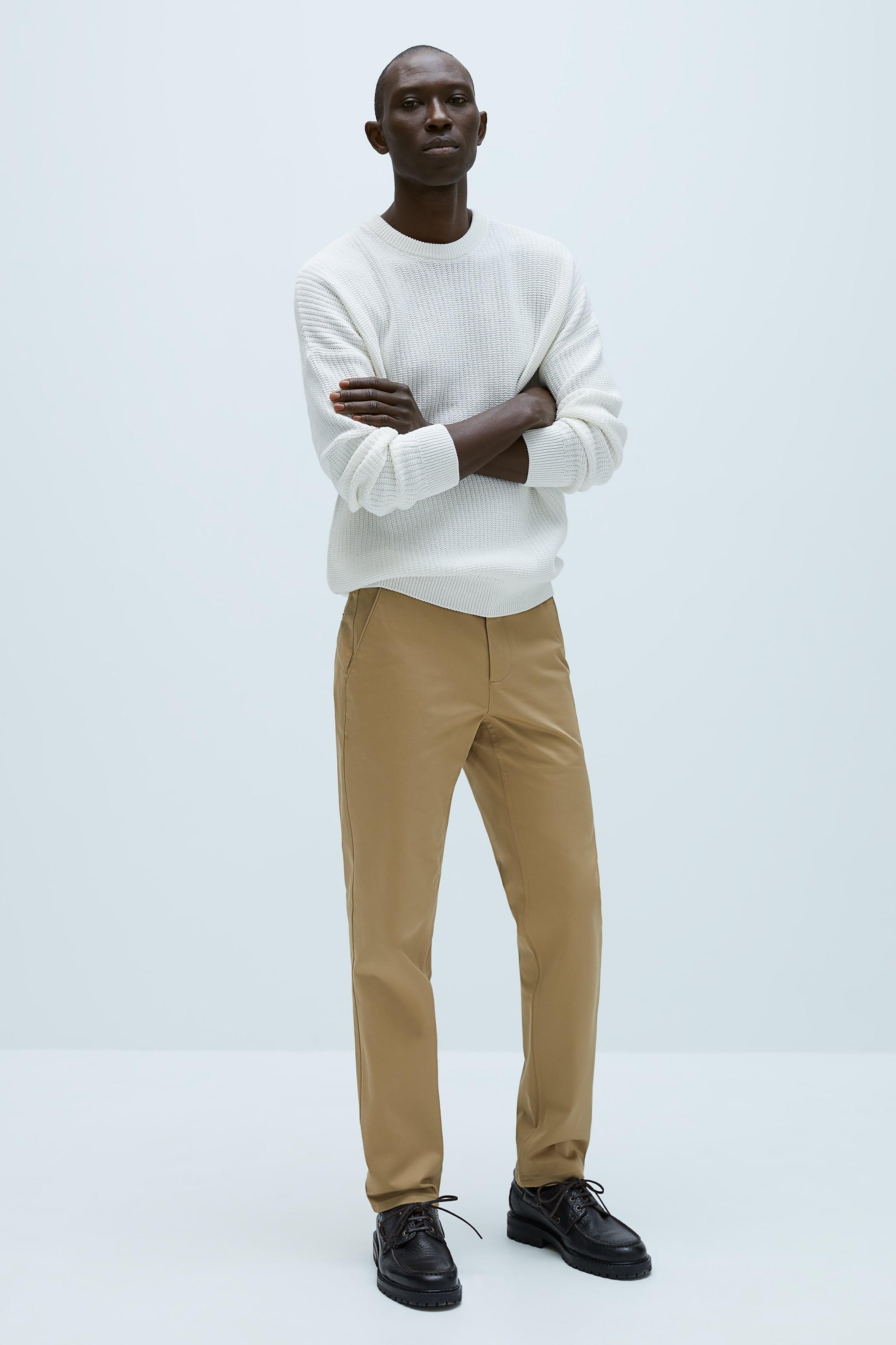 자라 Zara SLIM FIT CHINO PANTS,taupe brown