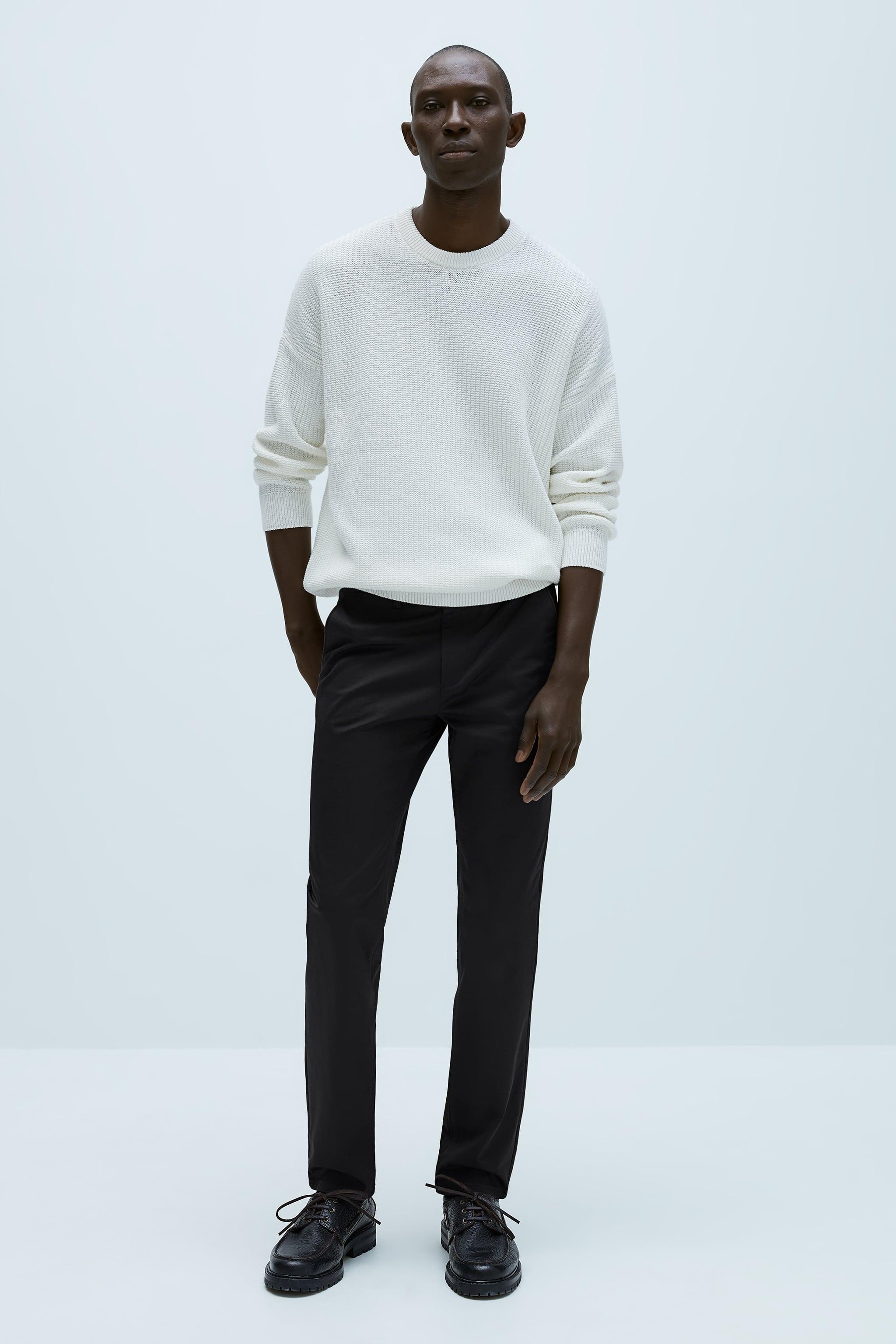 자라 Zara SLIM FIT CHINO PANTS,Black