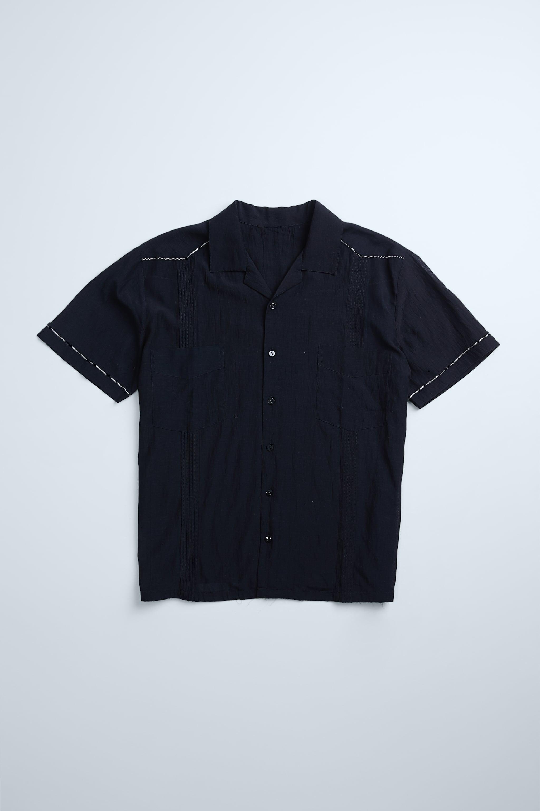 자라 Zara TOPSTITCHING DETAIL SHIRT,Black