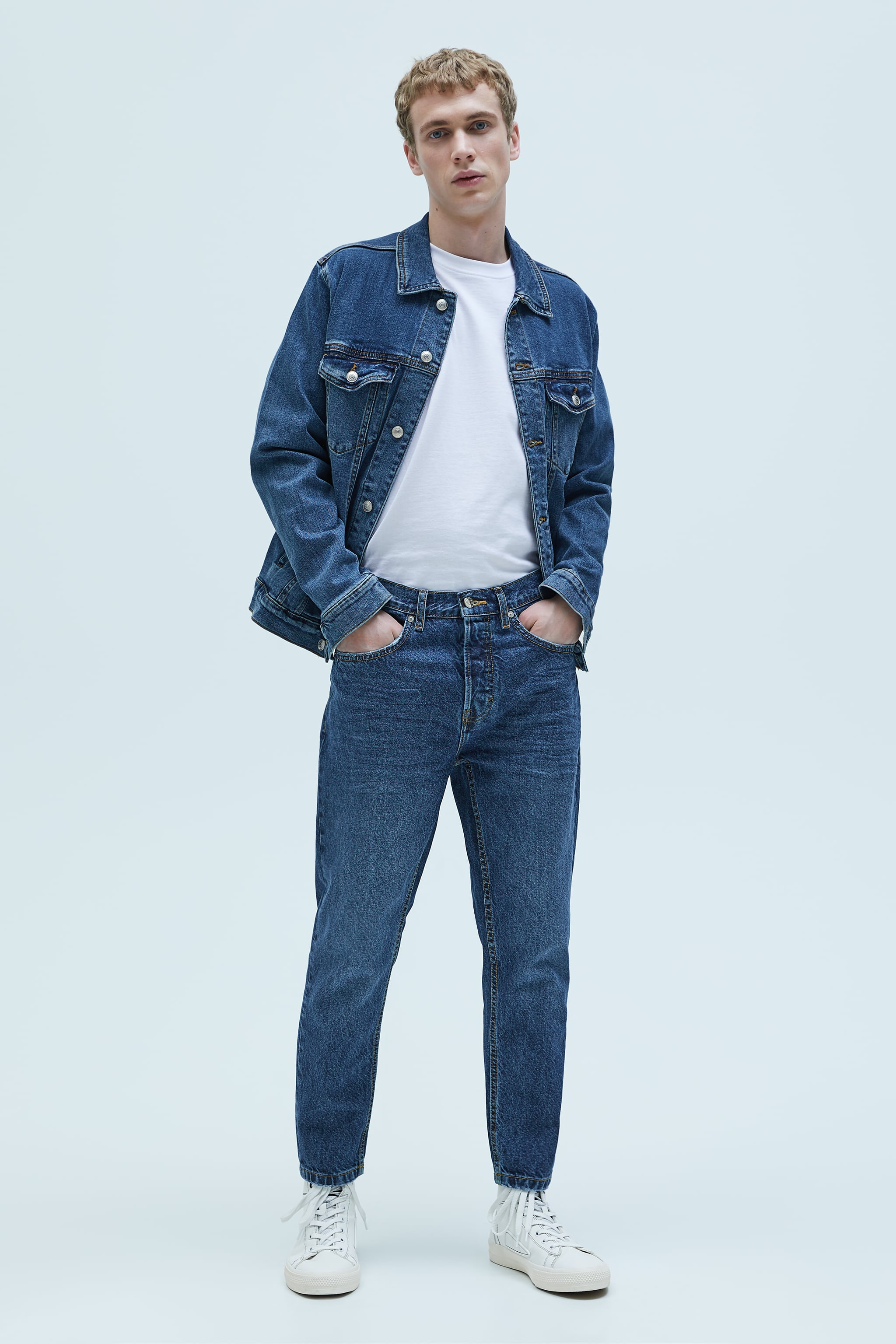 자라 Zara SLIM VINTAGE JEANS,Mid-blue
