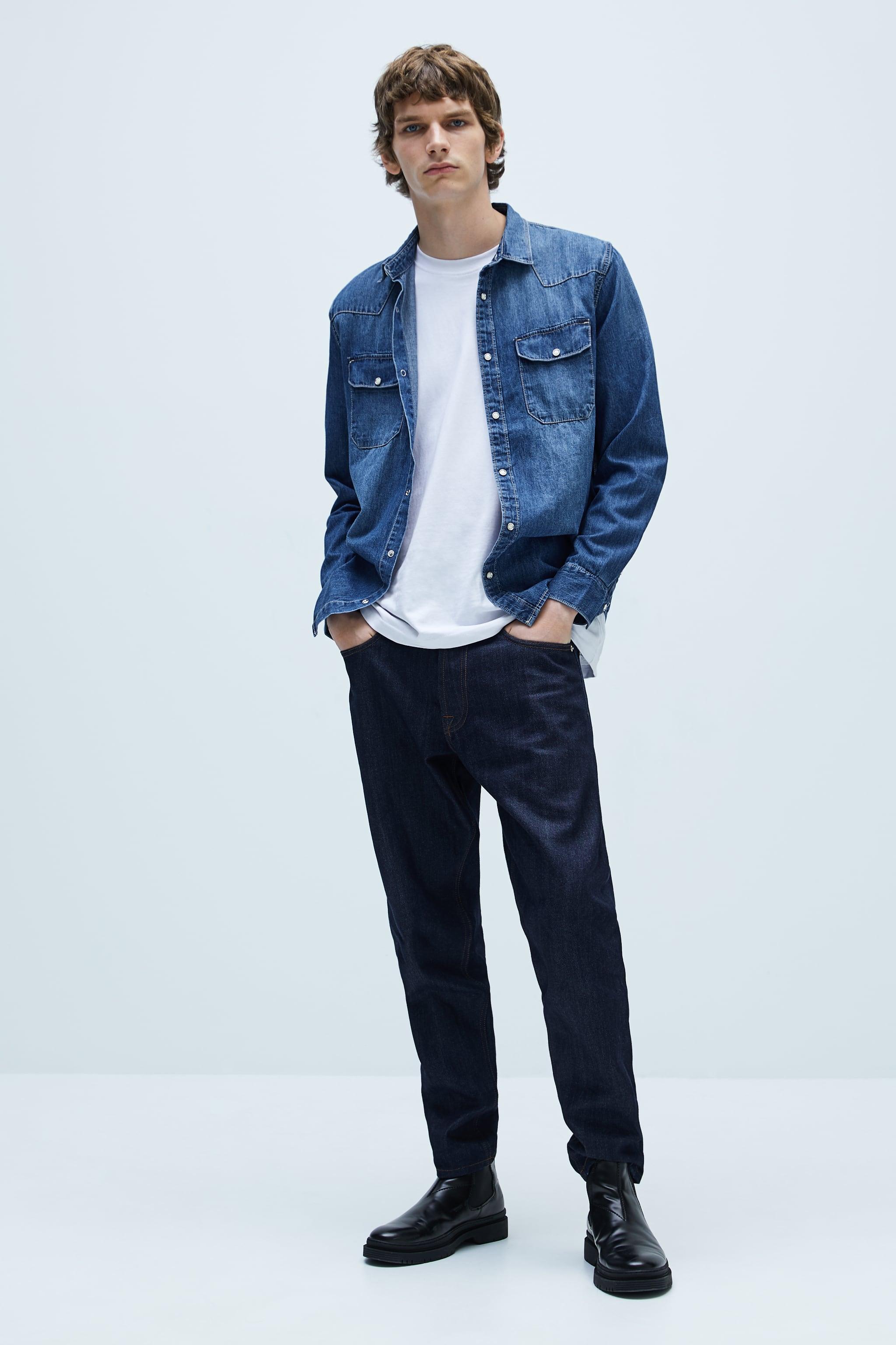 자라 Zara TOPSTITCHED DENIM SHIRT,Mid-blue